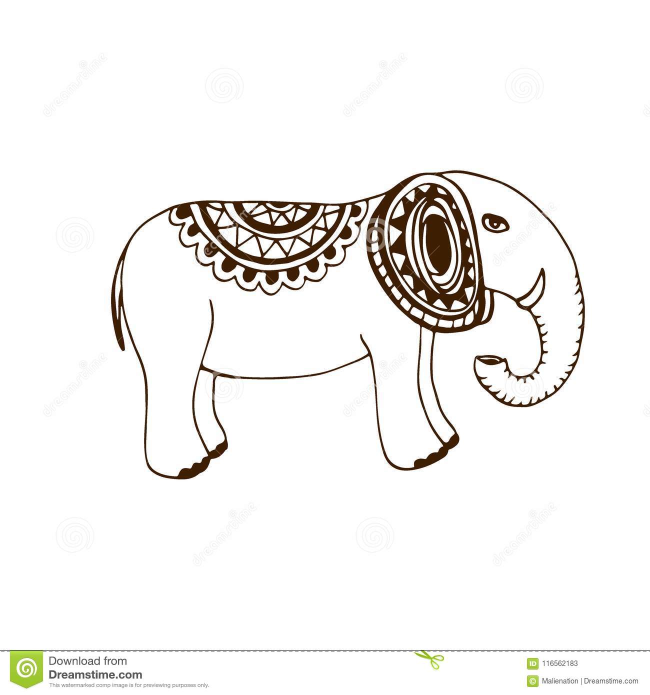 Vector Elephant Illustration Indian Henna Tattoo Art Icon Design
