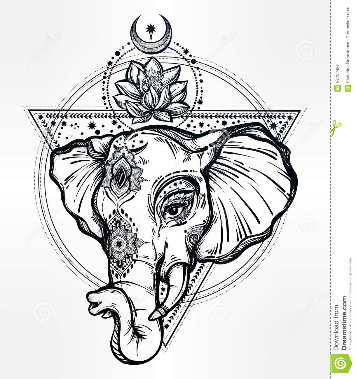 Vector Elephant With Lotus And Sacred Geometry Stock Vector