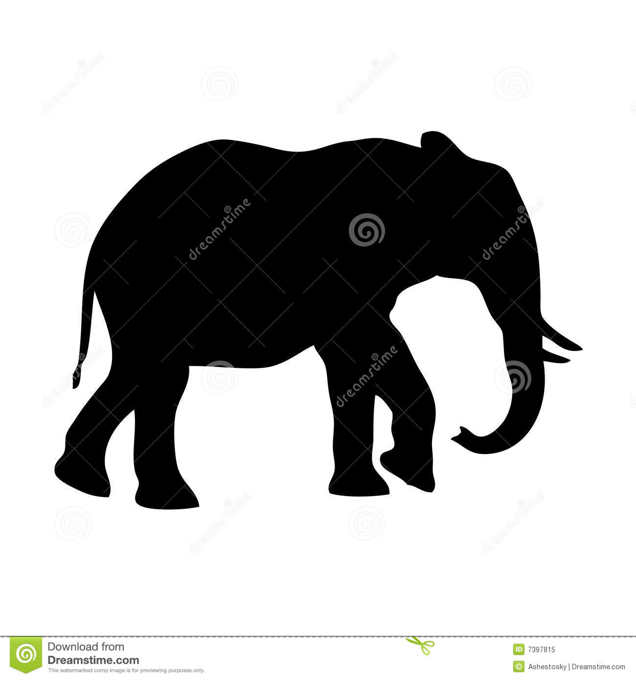 Elephant trunk up silhouette