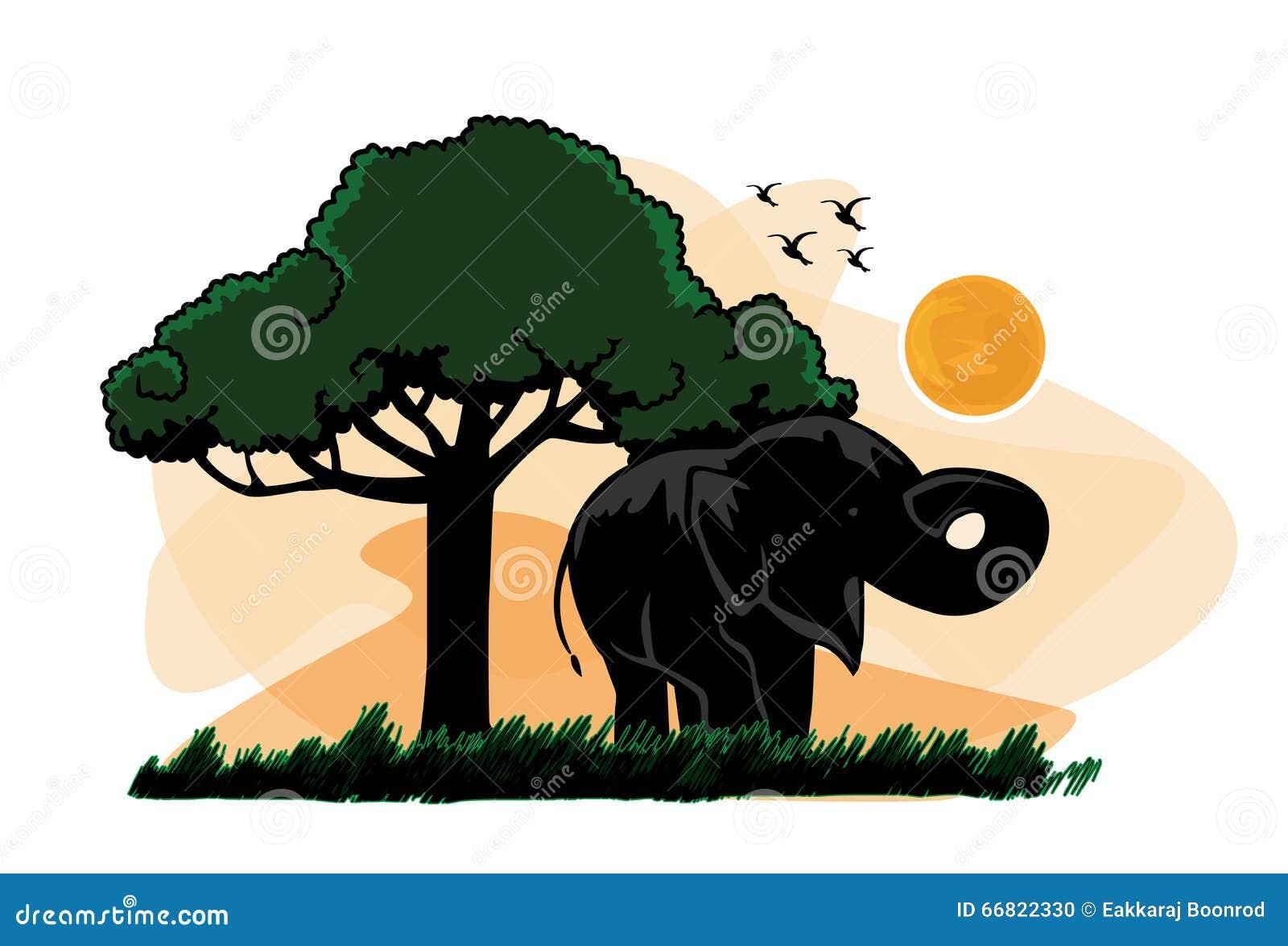 Elephant sunset tree vector elephant sunset tree stock vector image