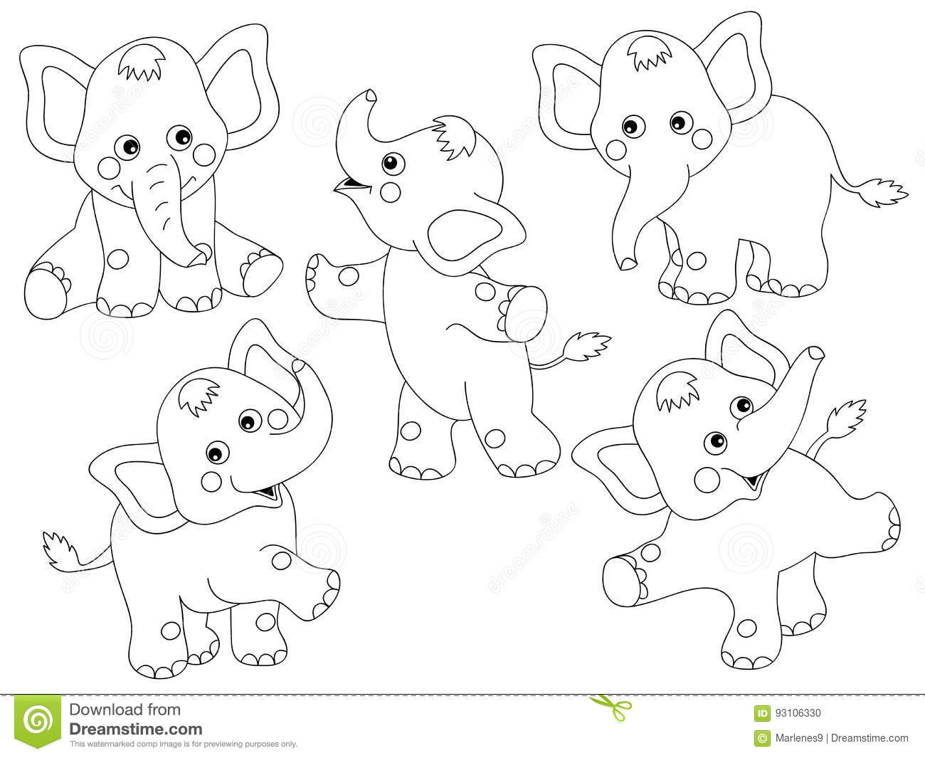 Vector Elephants Set stock vector. Illustration of happy ...
