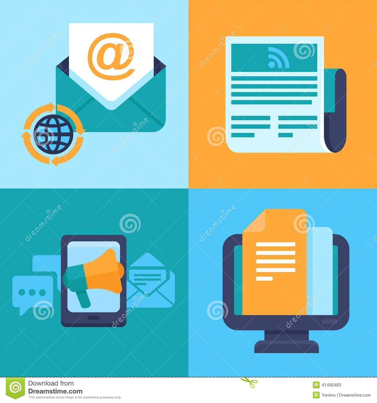 Vector Email Marketing Concepts - Flat Icons Stock Vector ... C Flat Major Scale