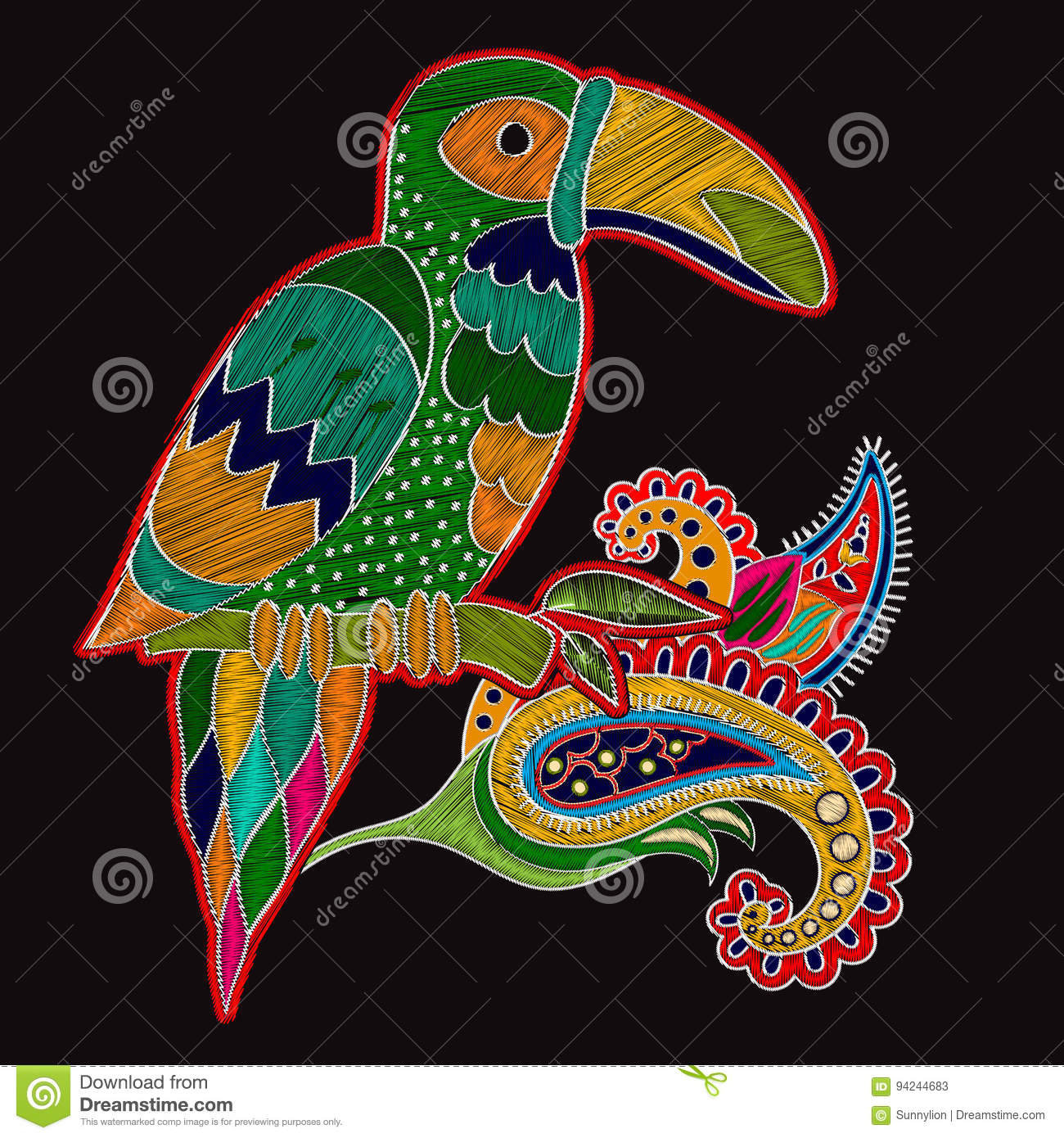 Vector Embroidery Oriental Print With Big Bird Floral Folk Template