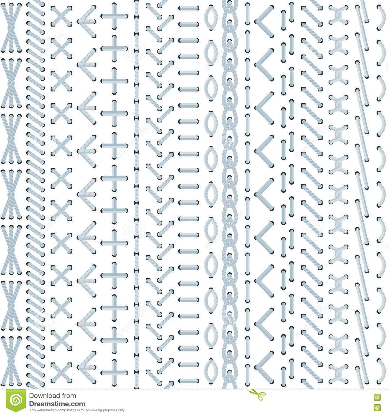 Vector Embroidery Stitch Seamless Pattern Stock Vector