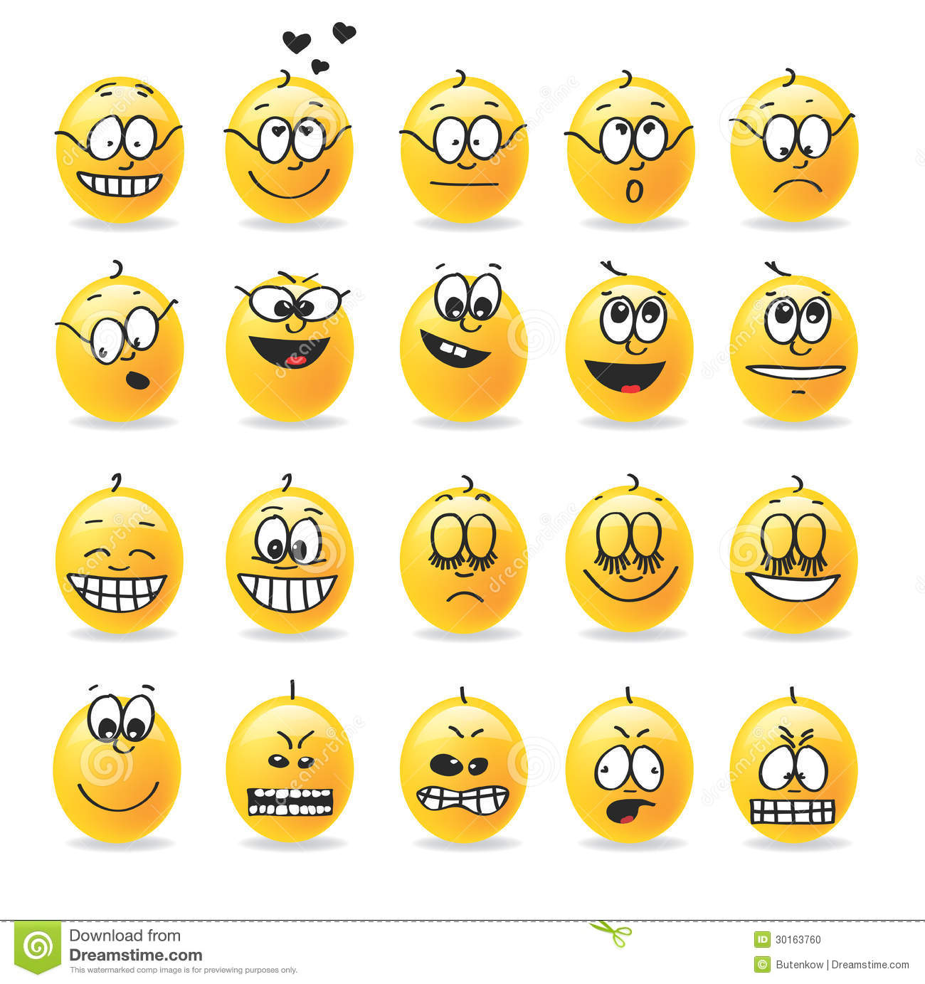 Vector Smiley Emotions Moods Stock Vector - Image: 30163760