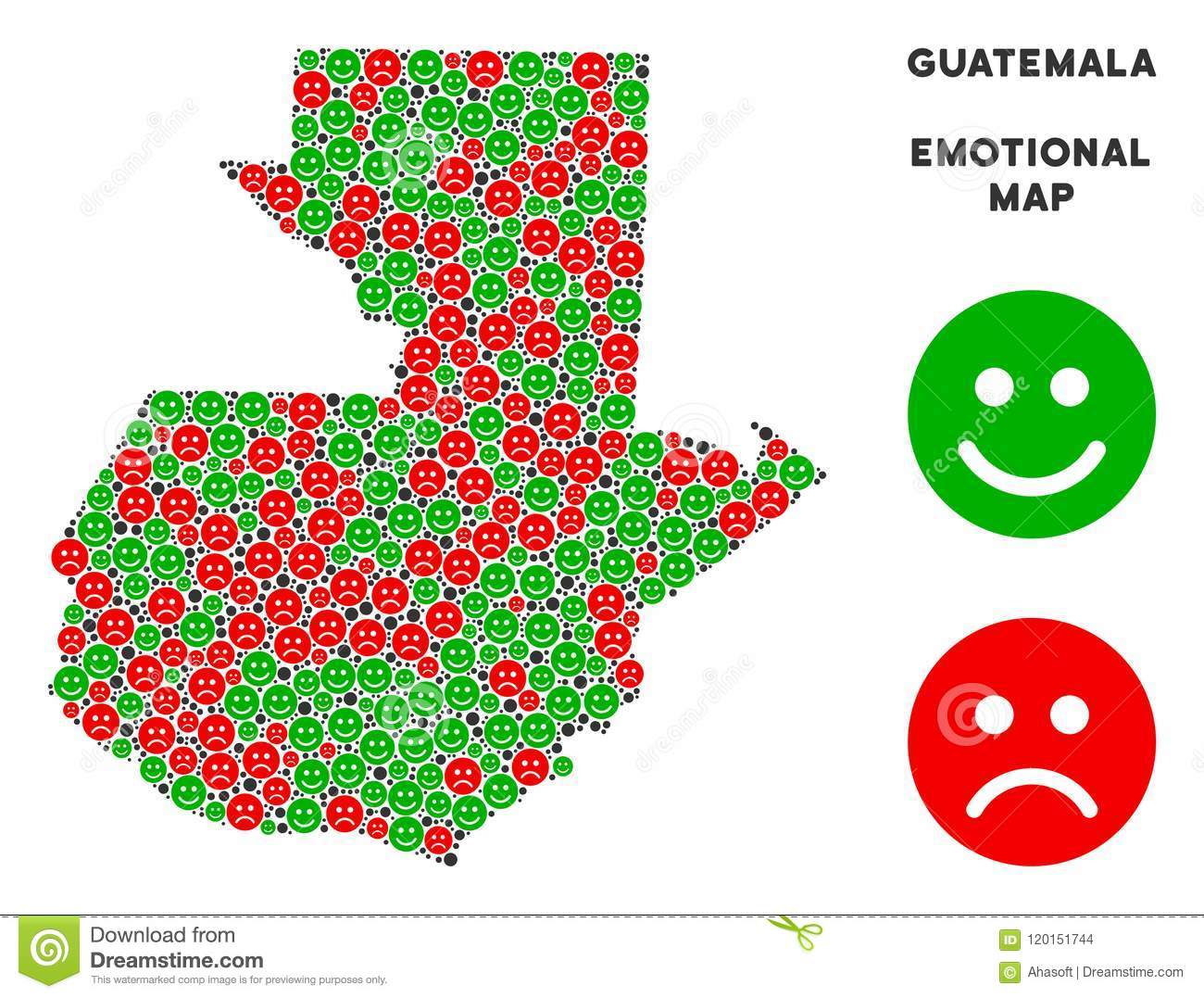 Vector Emotion Guatemala Map Collage Of Smileys Stock Vector ...