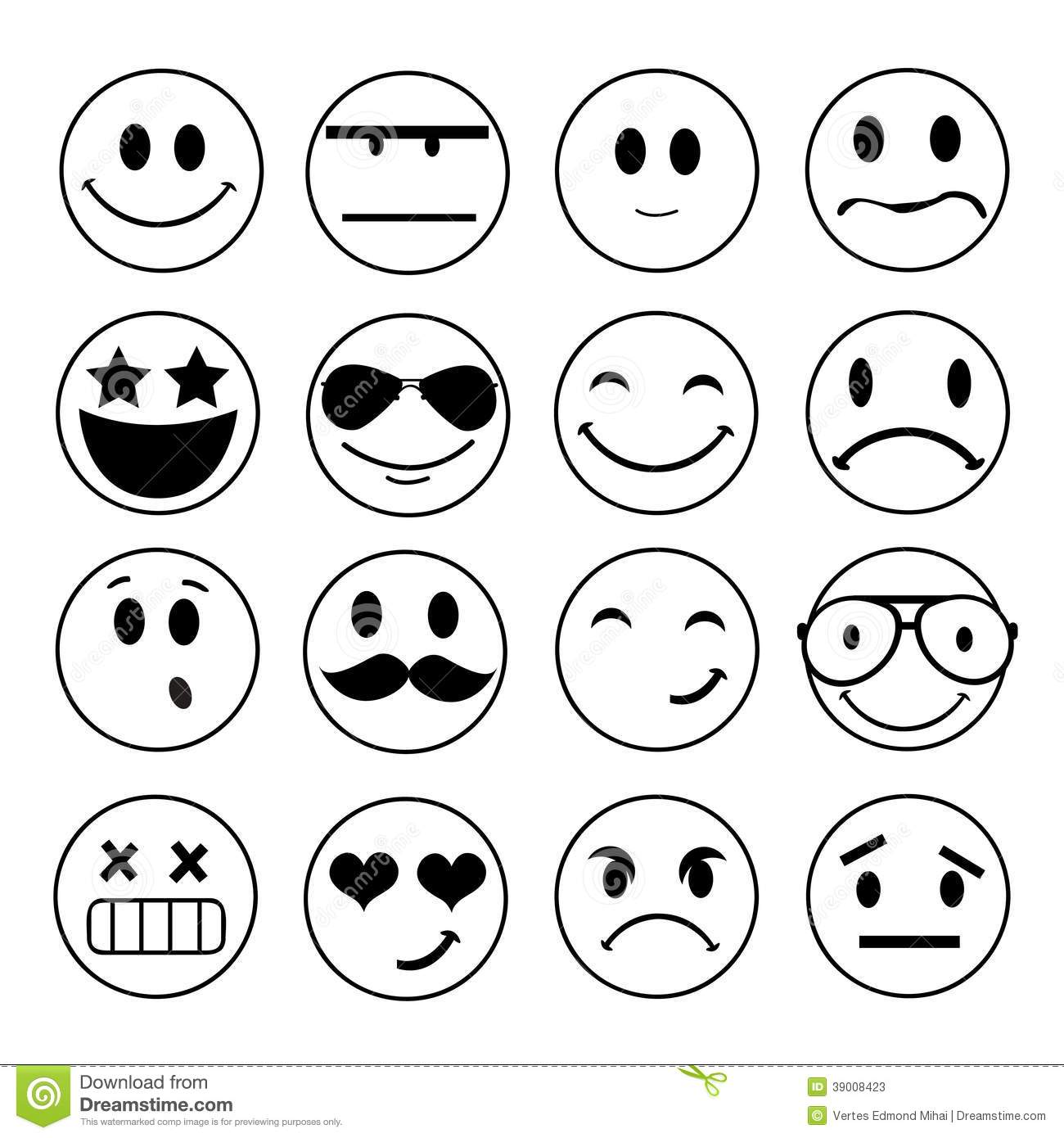 Vector emotional face icons stock vector image 39008423 - Smiley noir et blanc ...