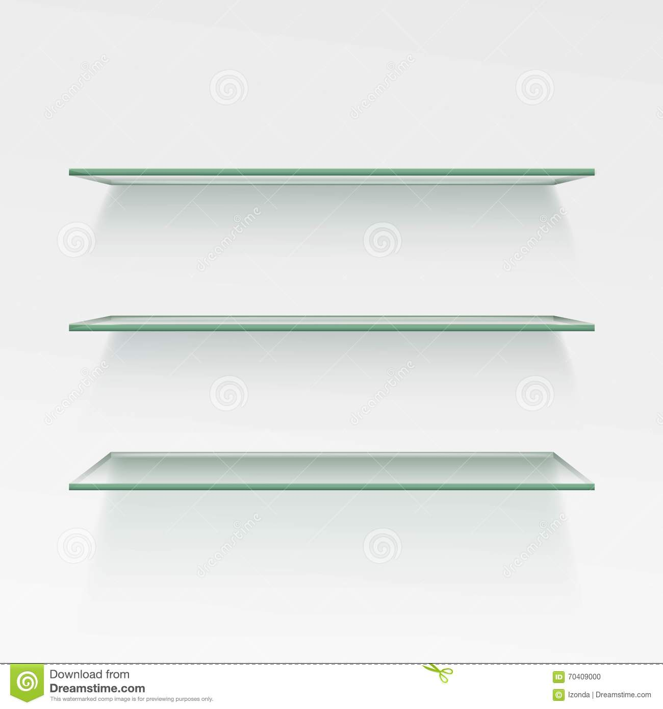 vector empty glass shelf shelves on wall background stock. Black Bedroom Furniture Sets. Home Design Ideas