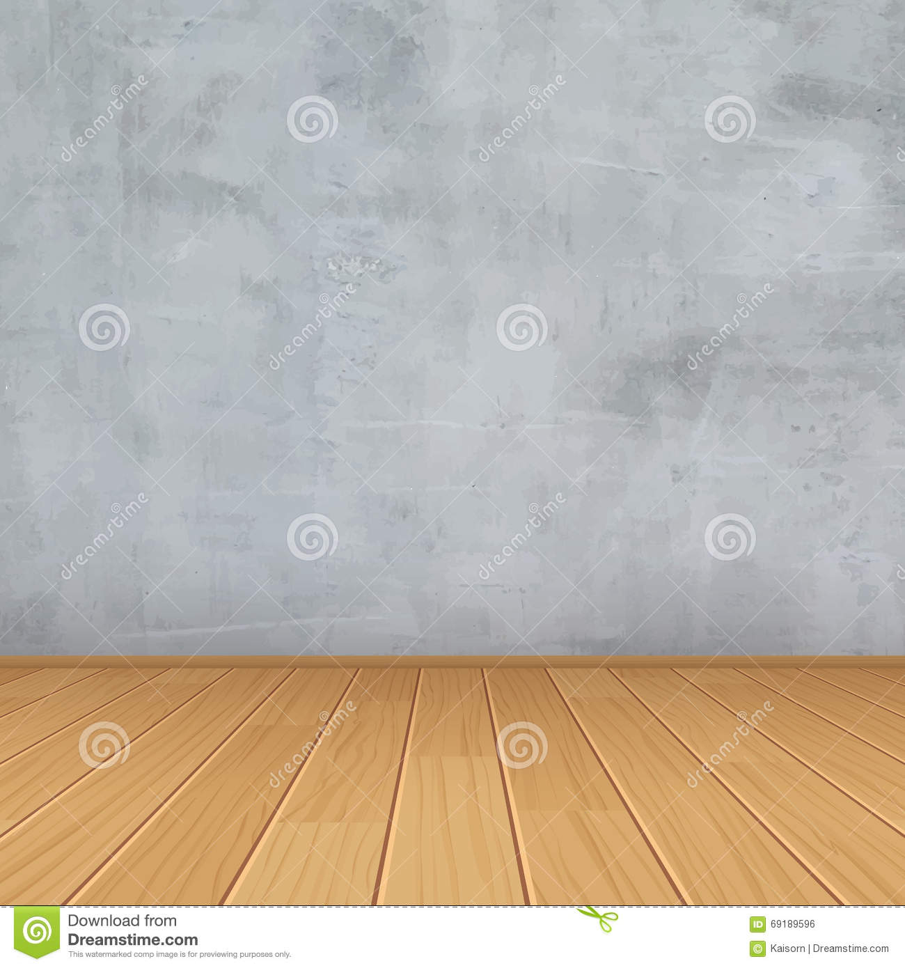 Grunge Interior Concrete Wall Wood Floor Room For