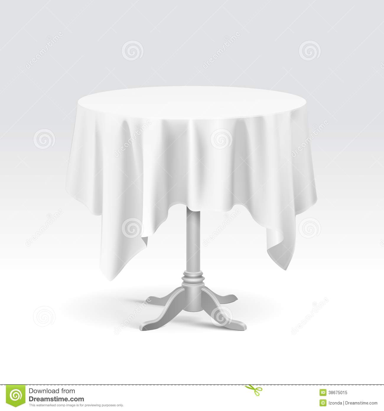 Table Cloth For Round Table Empty Round Table And Tablecloth On A White Background Stock Image