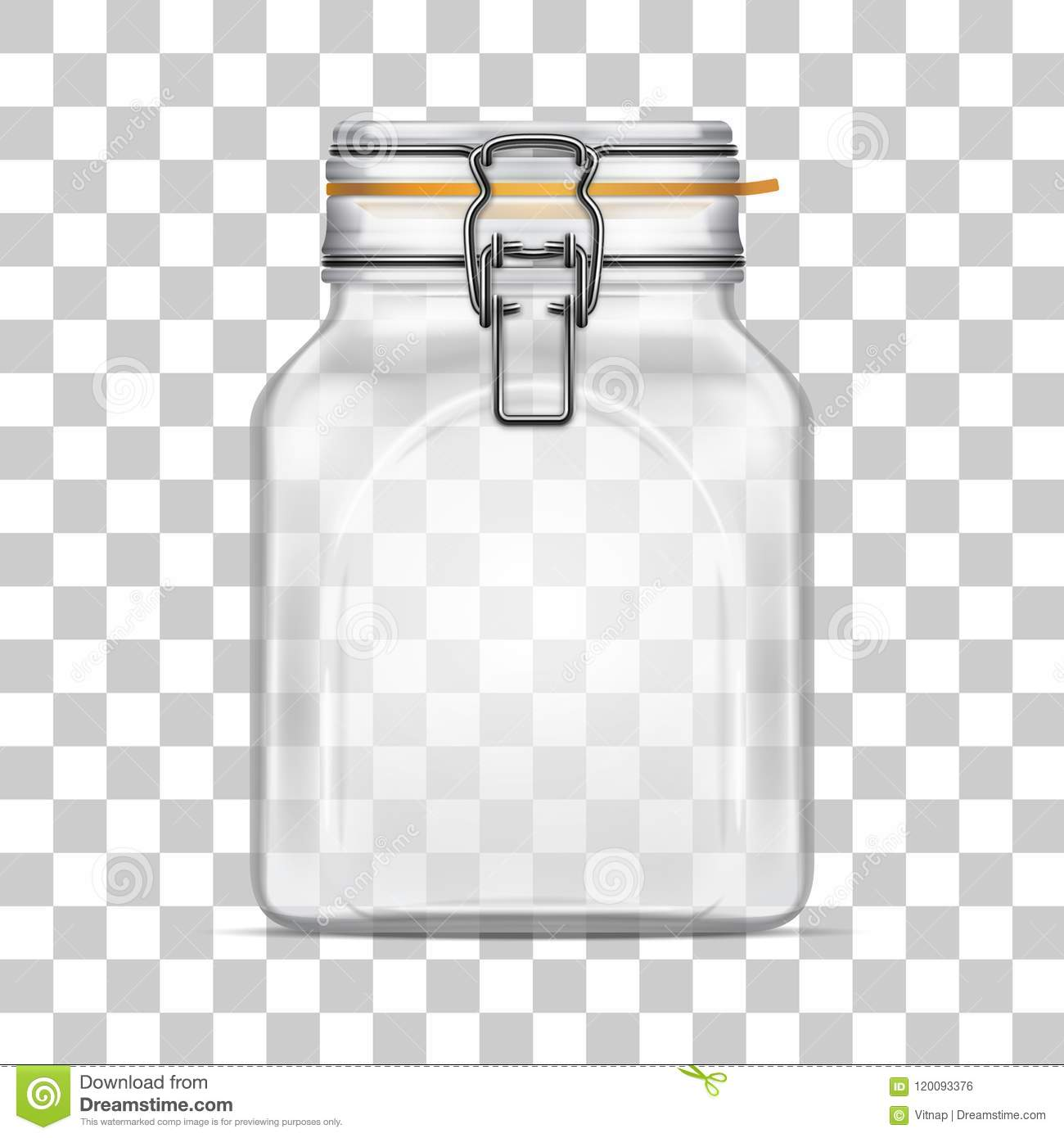 Vector Empty Square Bale Glass Jar With Swing Top Lid Stock Vector
