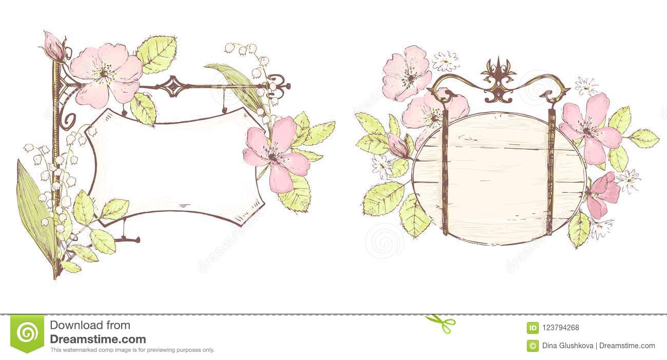 Vector Empty Template Sketchy Style Floral Romantic Signboards