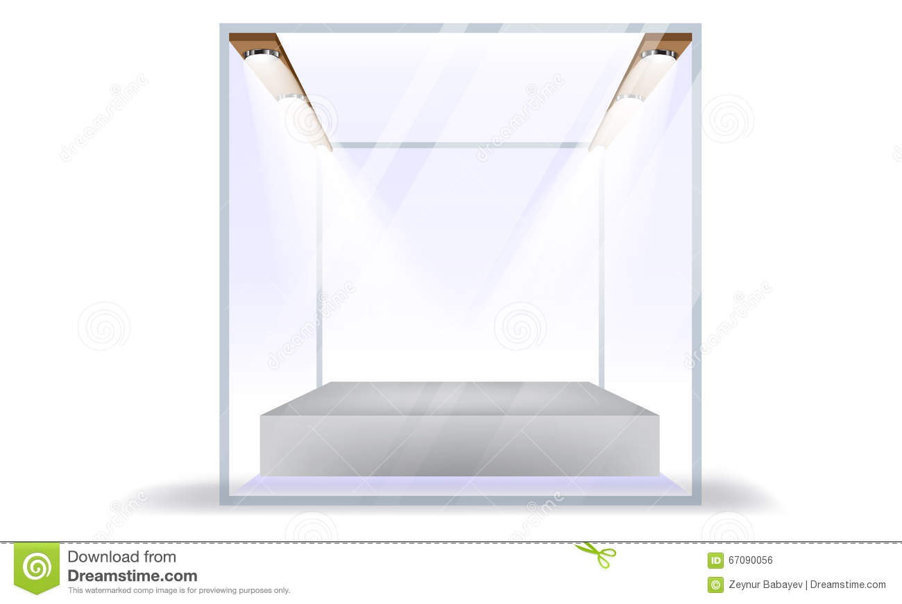 Vector Empty Transparent Glass Box Cube Isolated On White