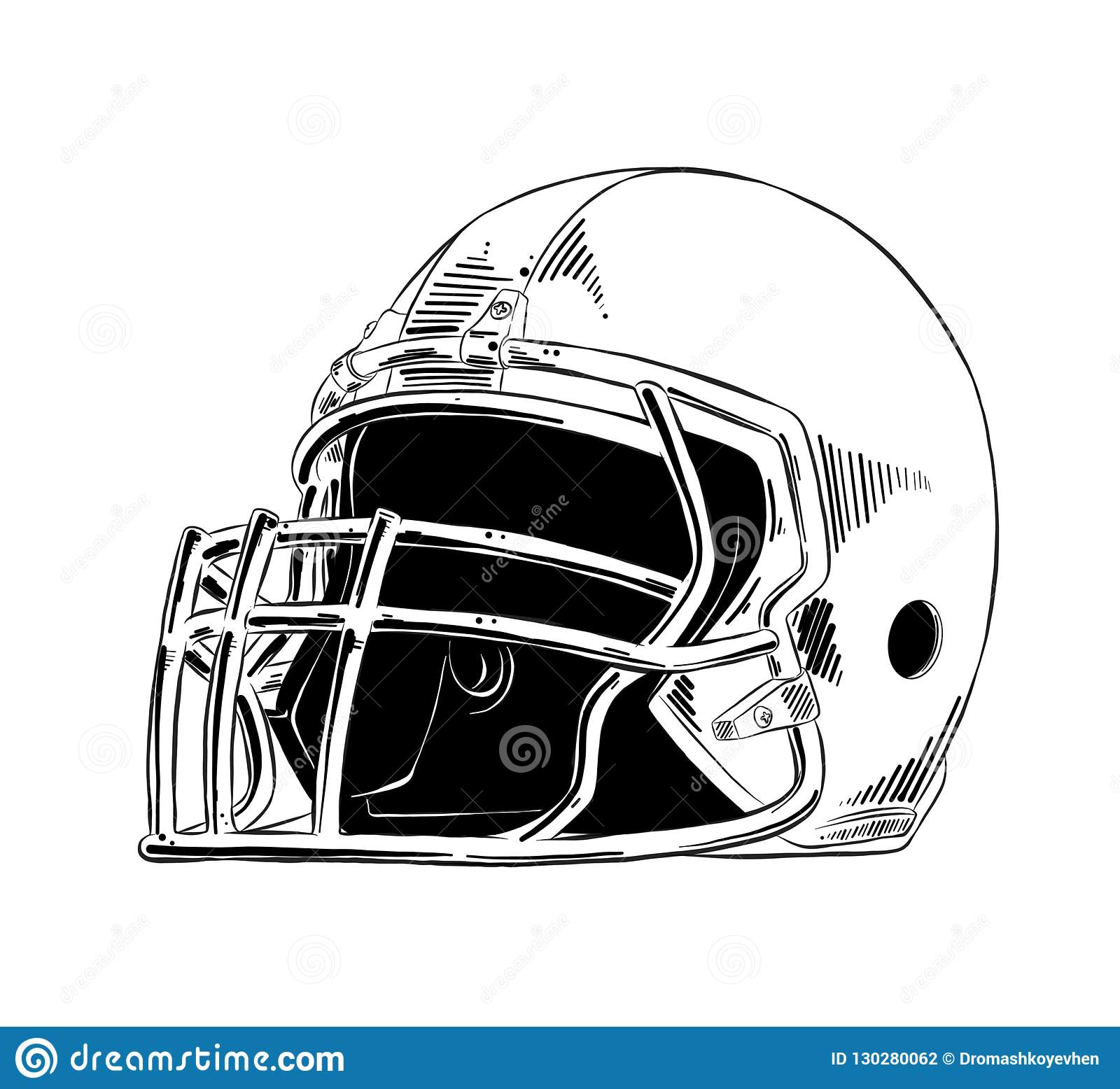 Hand Drawn Sketch Of American Football Helmet In Black Isolated On