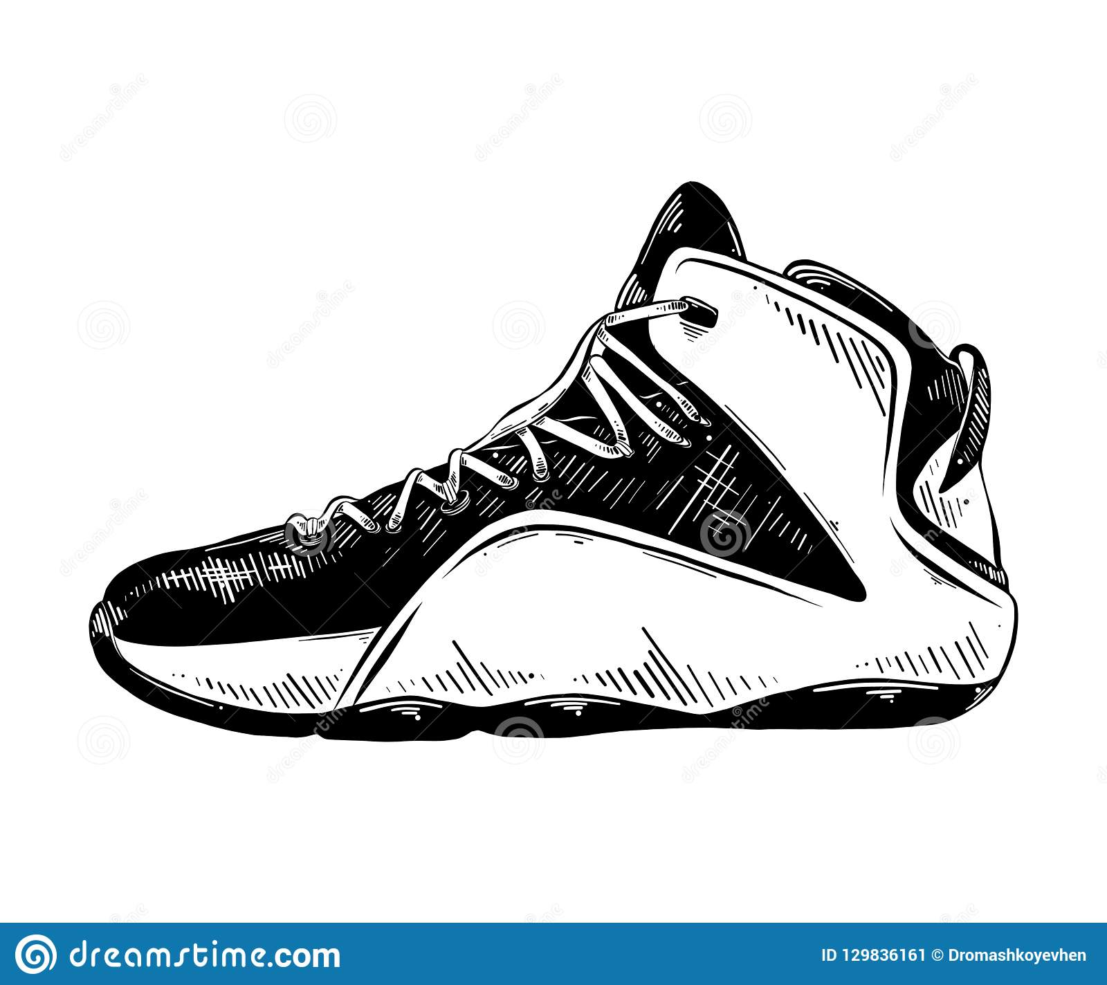 Hand Drawn Sketch Of Basketball Sneaker In Black Isolated On
