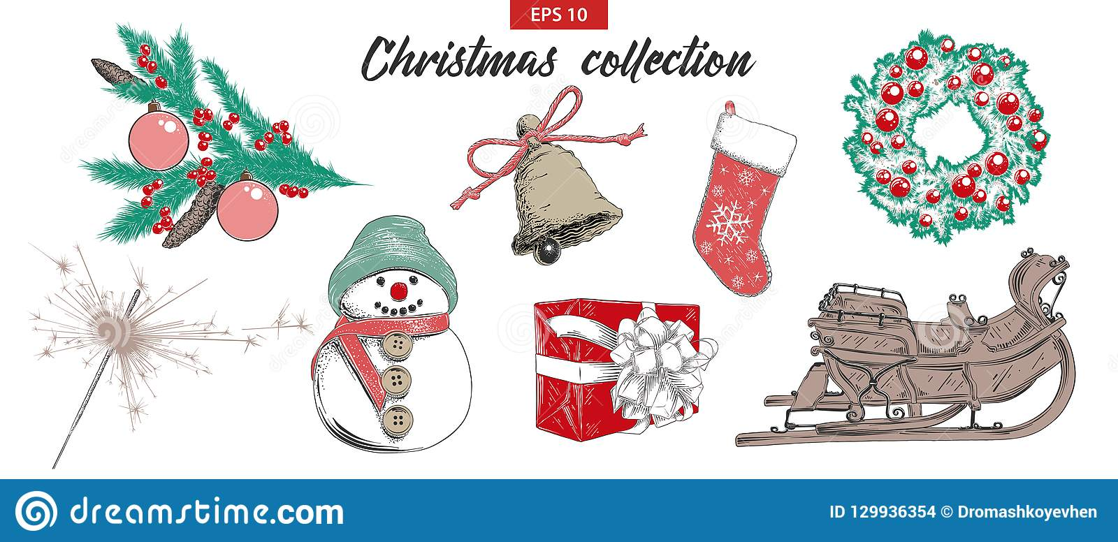 Hand Drawn Sketch Set Christmas And New Year Holiday Objects ...