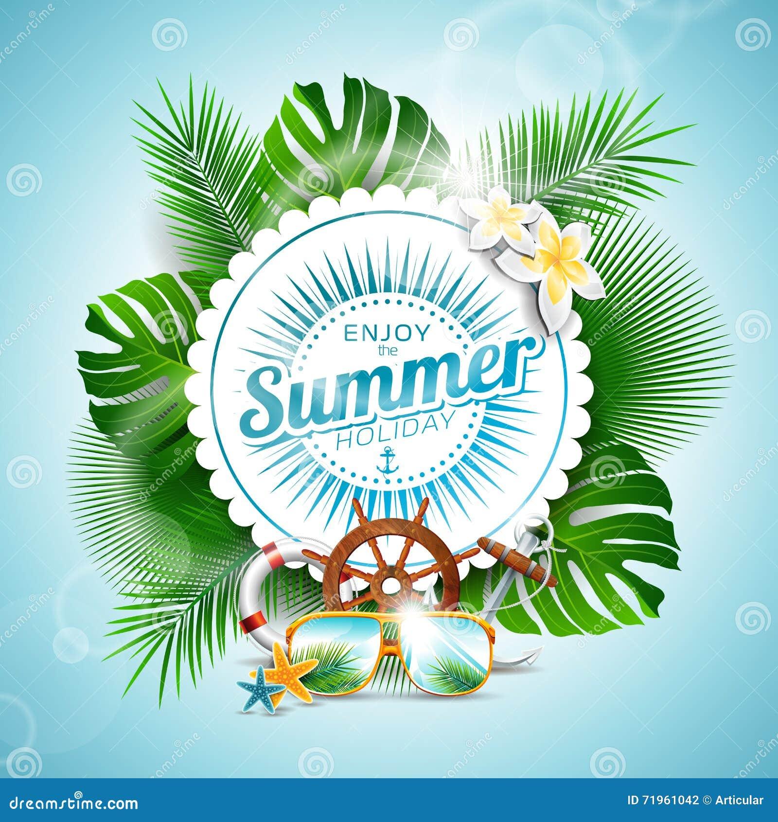 Couple Enjoying Their Summer Holidays Stock Photo: Vector Enjoy The Summer Holiday Typographic Illustration