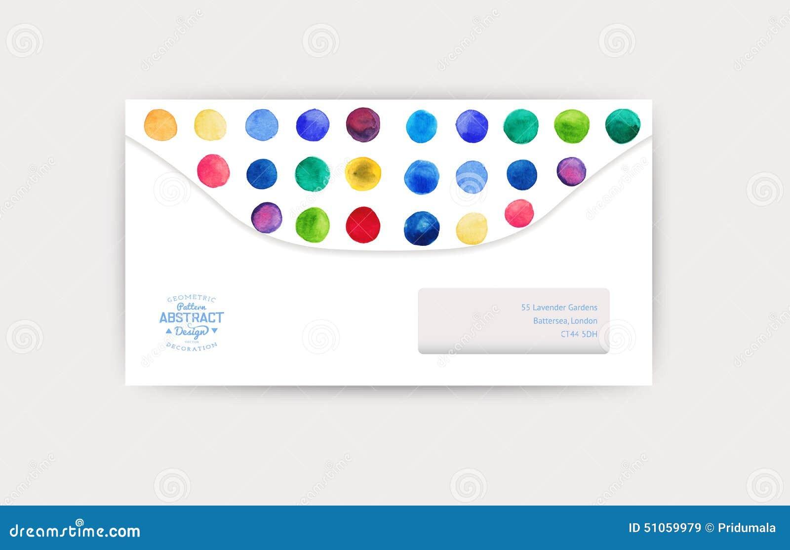 Vector Envelope Template Watercolor Circles Decor Corporate