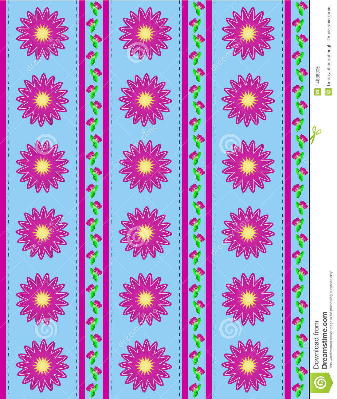 Vector Eps 10 Blue Wallpaper With Pink Flowers And Stock Vector