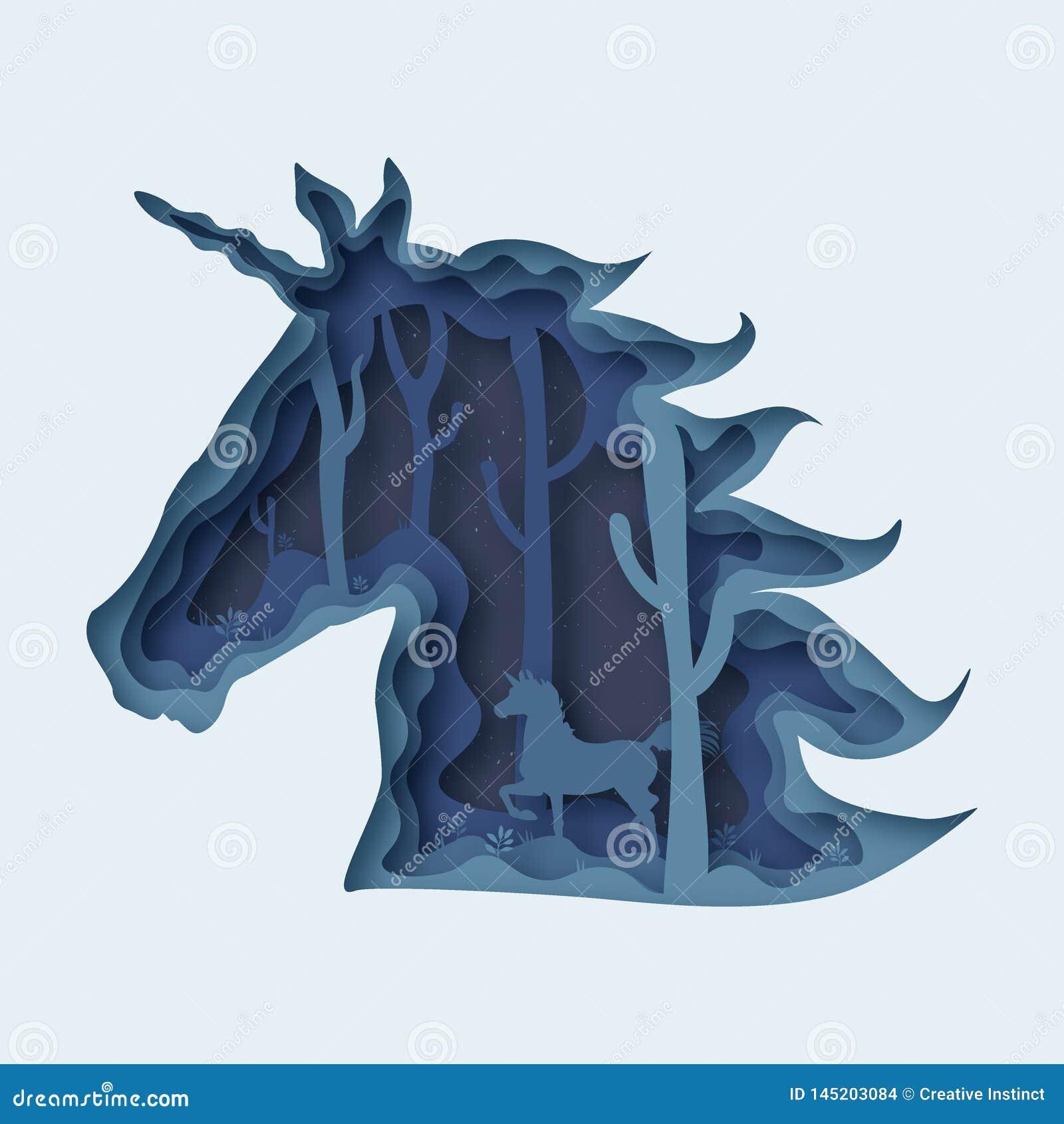 Vector EPS 10 del corte del papel del extracto del unicornio