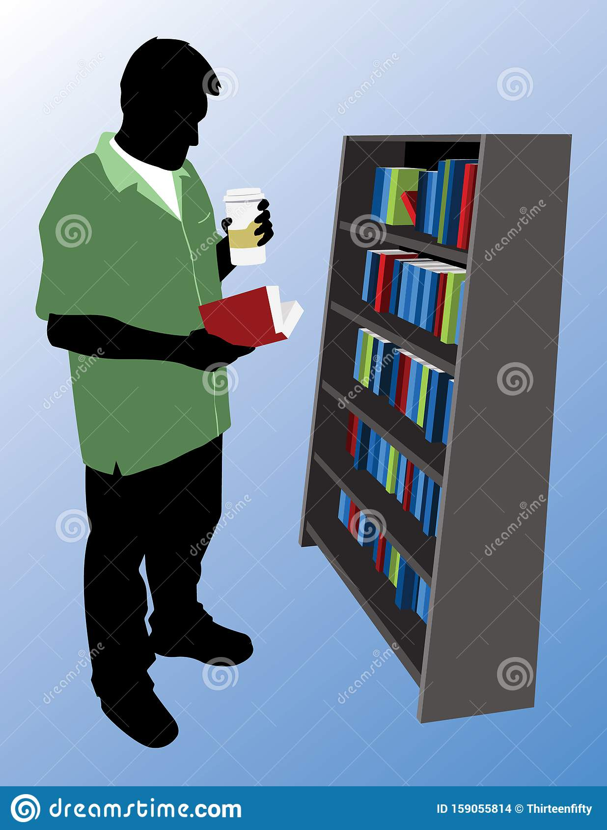 Man in a Green Shirt Reading a Book while Holding a Hot Beverage Cartoon Vector Graphic Illustration