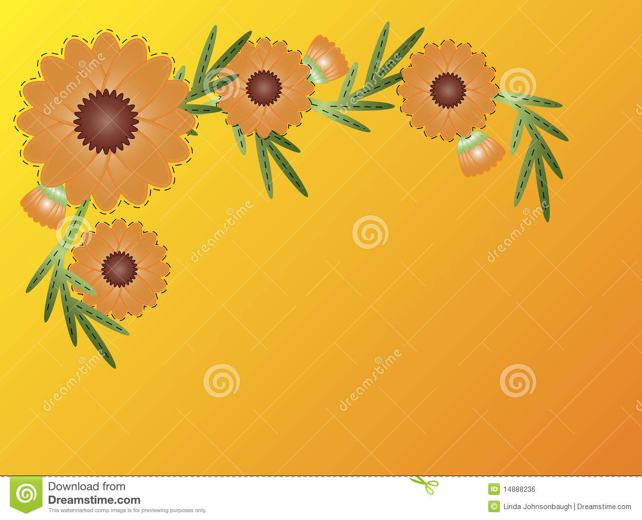 Vector Eps8 Zinnia Flower Border On Yellow Orange Stock