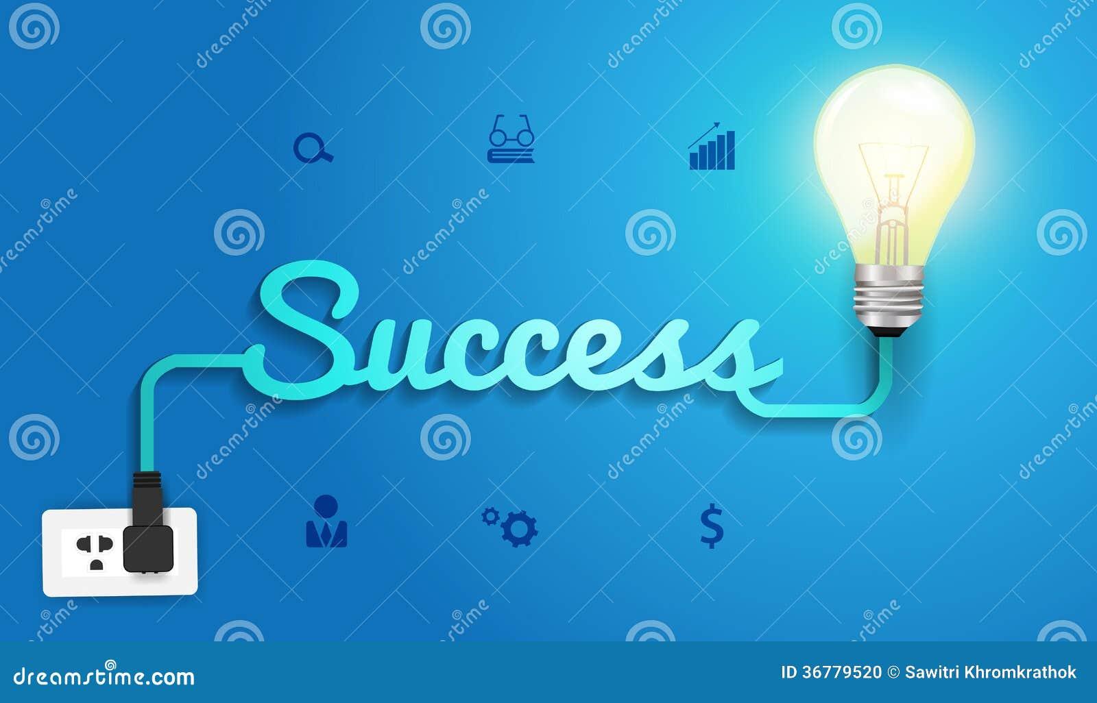 Vector Erfolgskonzept mit kreativer Glühlampeidentifikation
