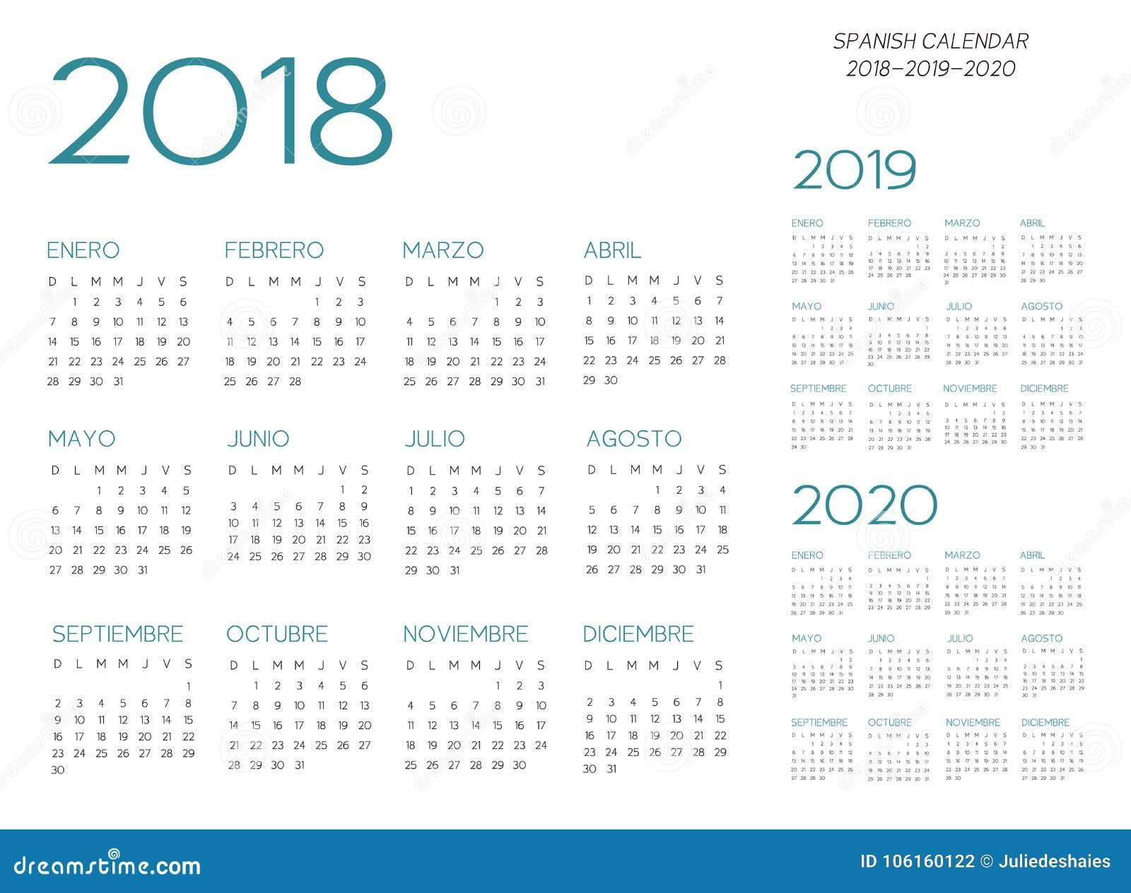 Calendario Vectorizado.Vector Espanol Del Calendario 2018 2019 2020 Ilustracion Del