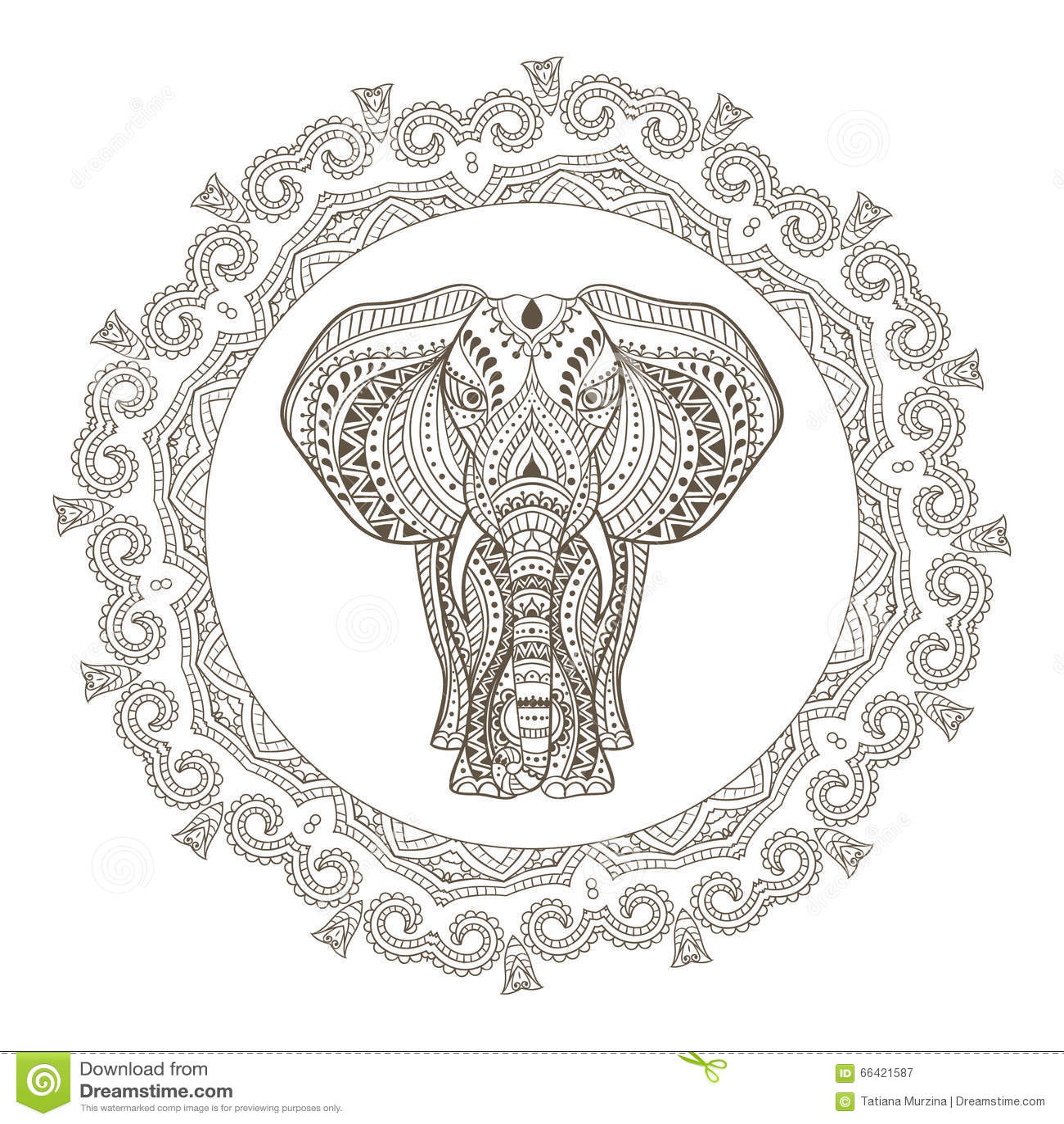 Free ornamental mandala vector download free vector art stock - Vector Ethnic Indian Elephant In Mandala Frame Stock