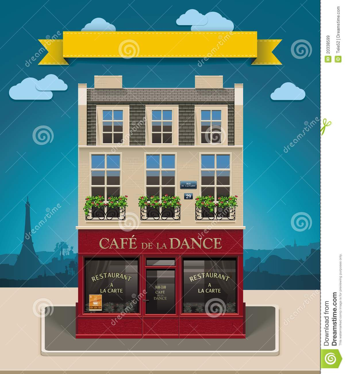 Cafe Building Clipart Style cafe building.