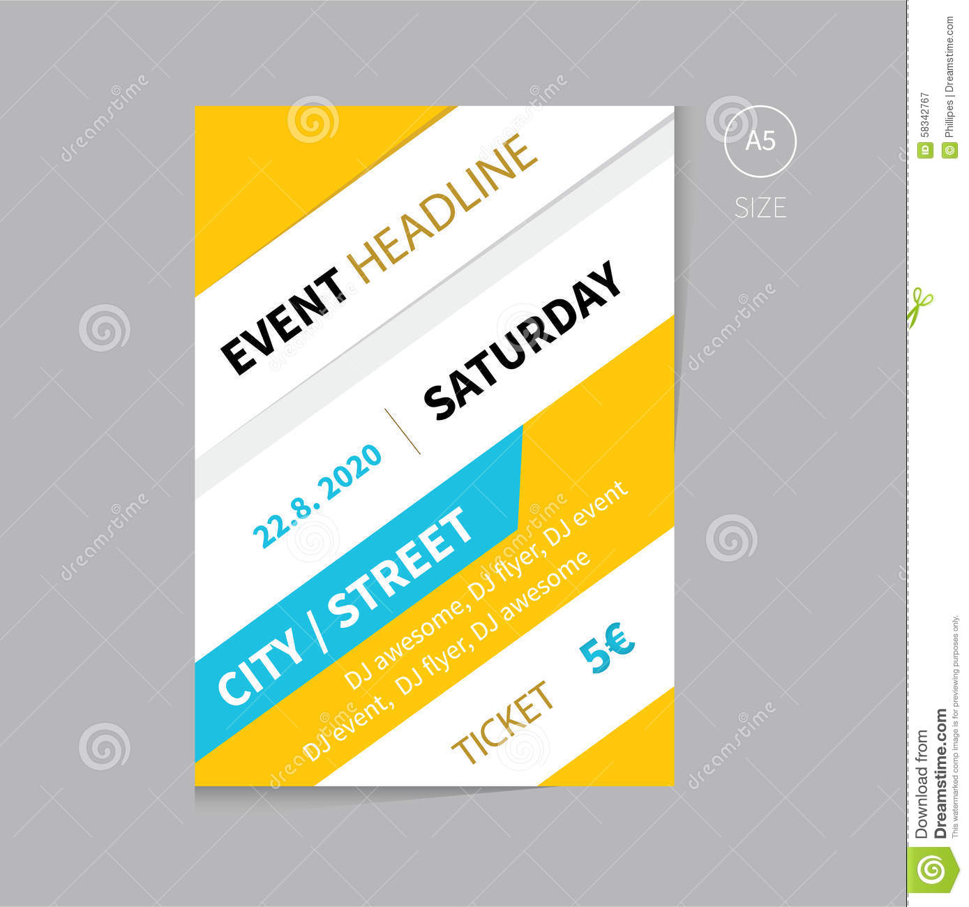 Vector Event Brochure Flyer Template Design A5 Size Stock