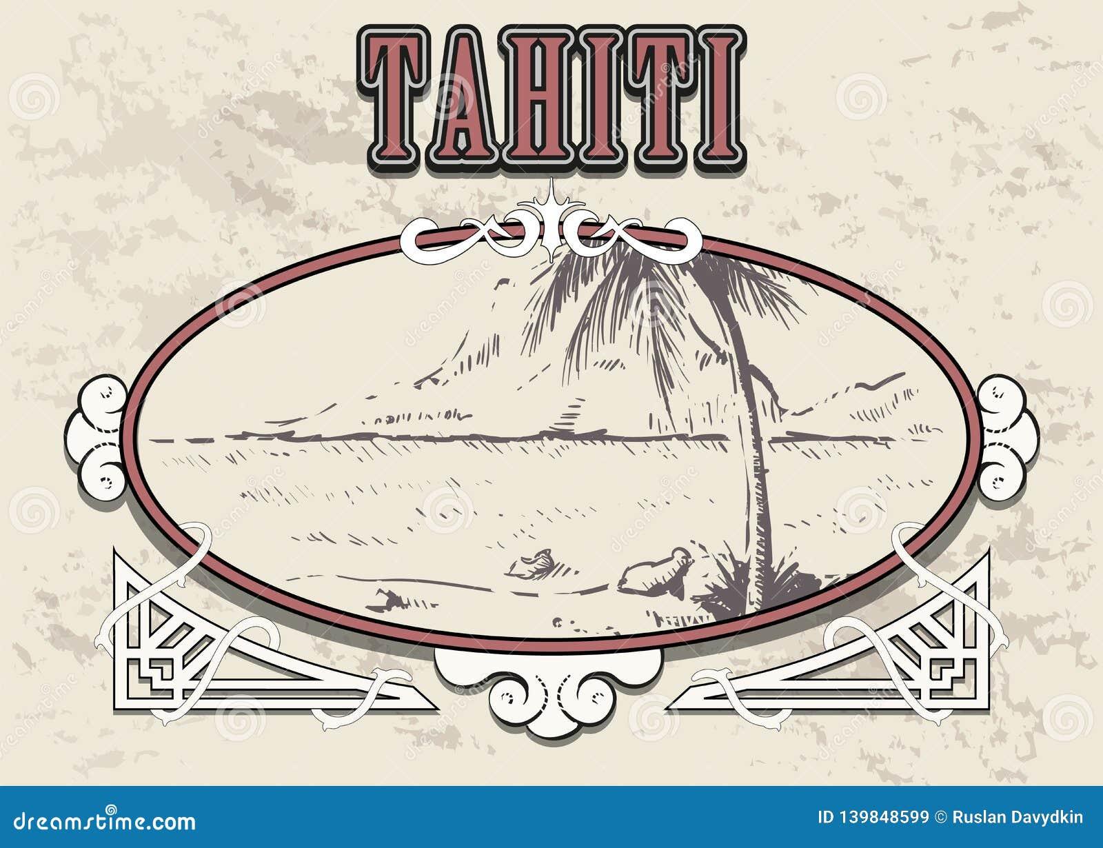 Vector exhausto del bosquejo de la mano de Tahití del Palm Beach