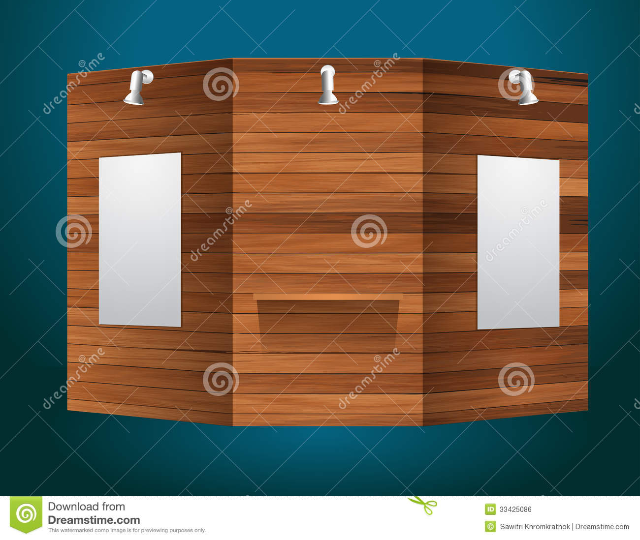 Exhibition Stand Design Illustrator : Vector exhibition stand with wood texture stock