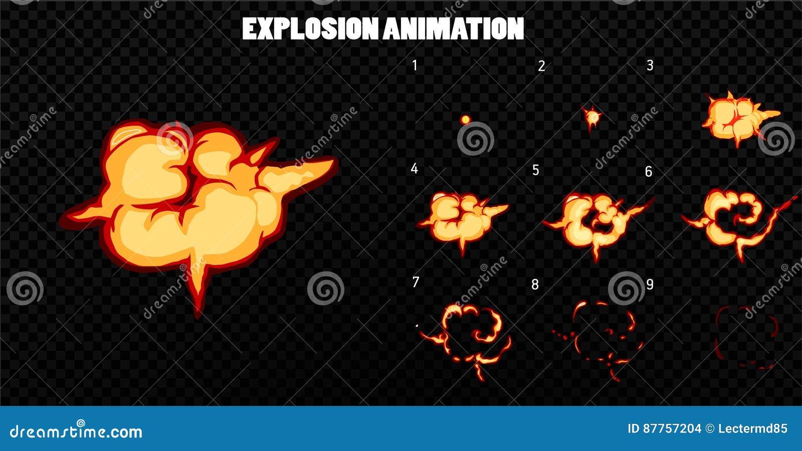 Explode Animation. Cartoon Smoke Explosion Frames Cartoon Vector ...