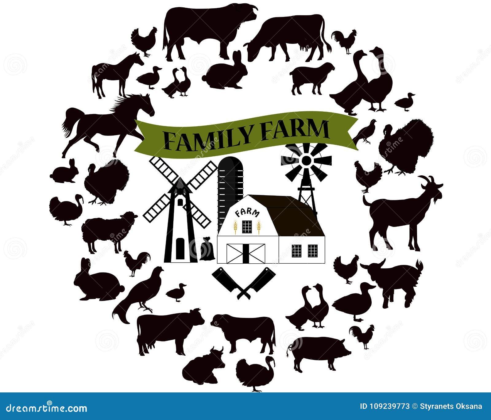 Vector a exploração agrícola e ícones e do projeto elementos do cultivo Coleção dos animais de exploração agrícola