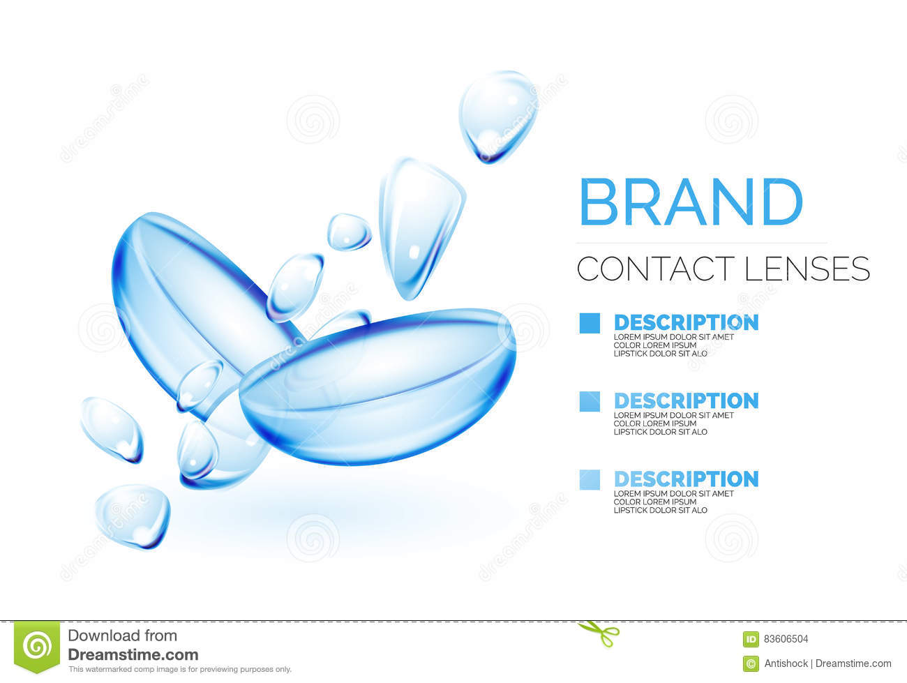 Vector Eye Contacts Lenses Ad Template Stock Illustration