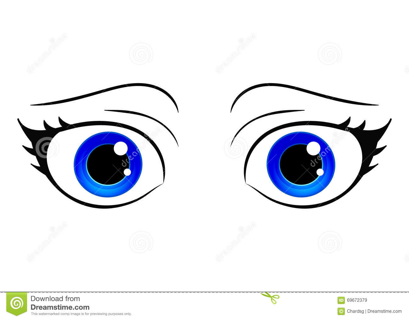 Vector Eyes. Cartoon Style Female Eye. Colorful Bright