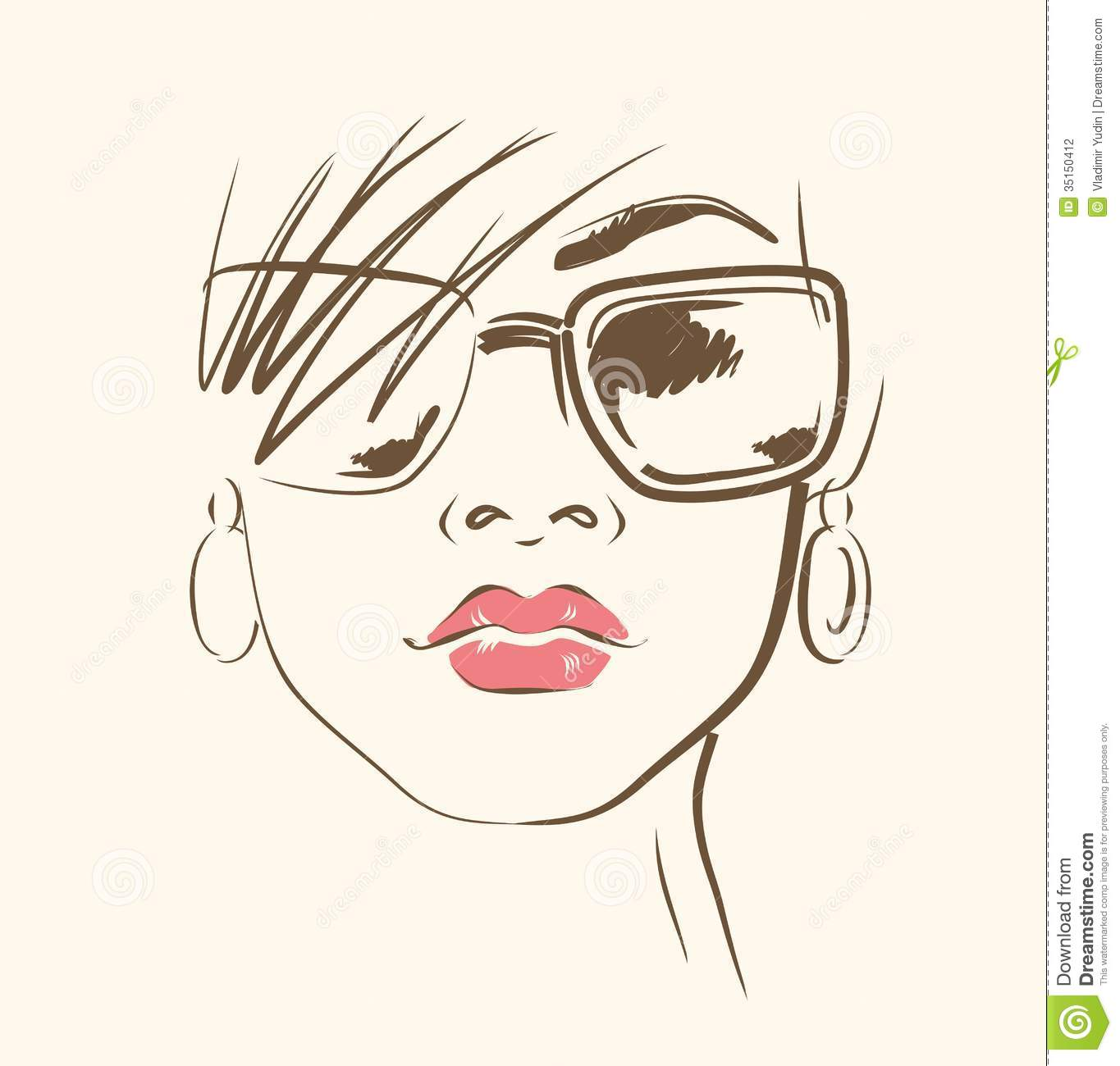 Woman Face Line Drawing Vector : Vector face in glasses stock image of trendy