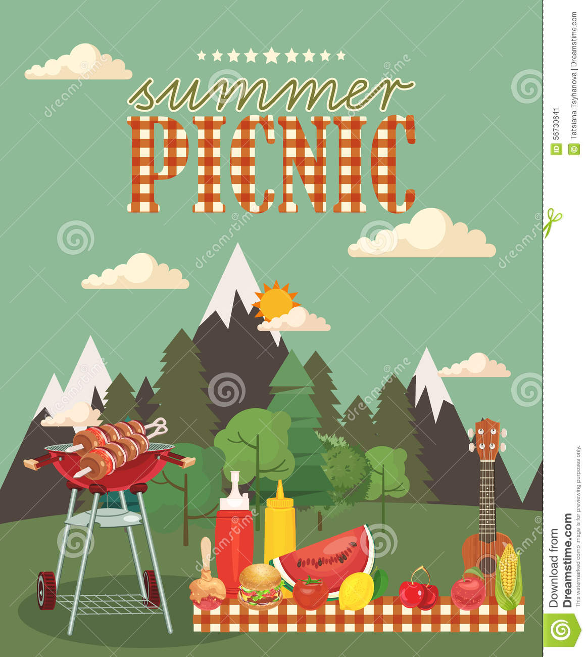 vector family picnic illustration food and pastime icons stock