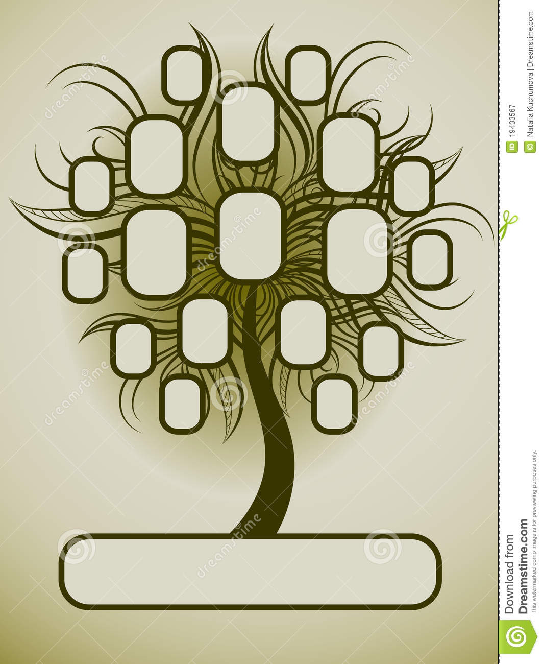 Vector family tree design with frames and autumn leafs. Place for text ...
