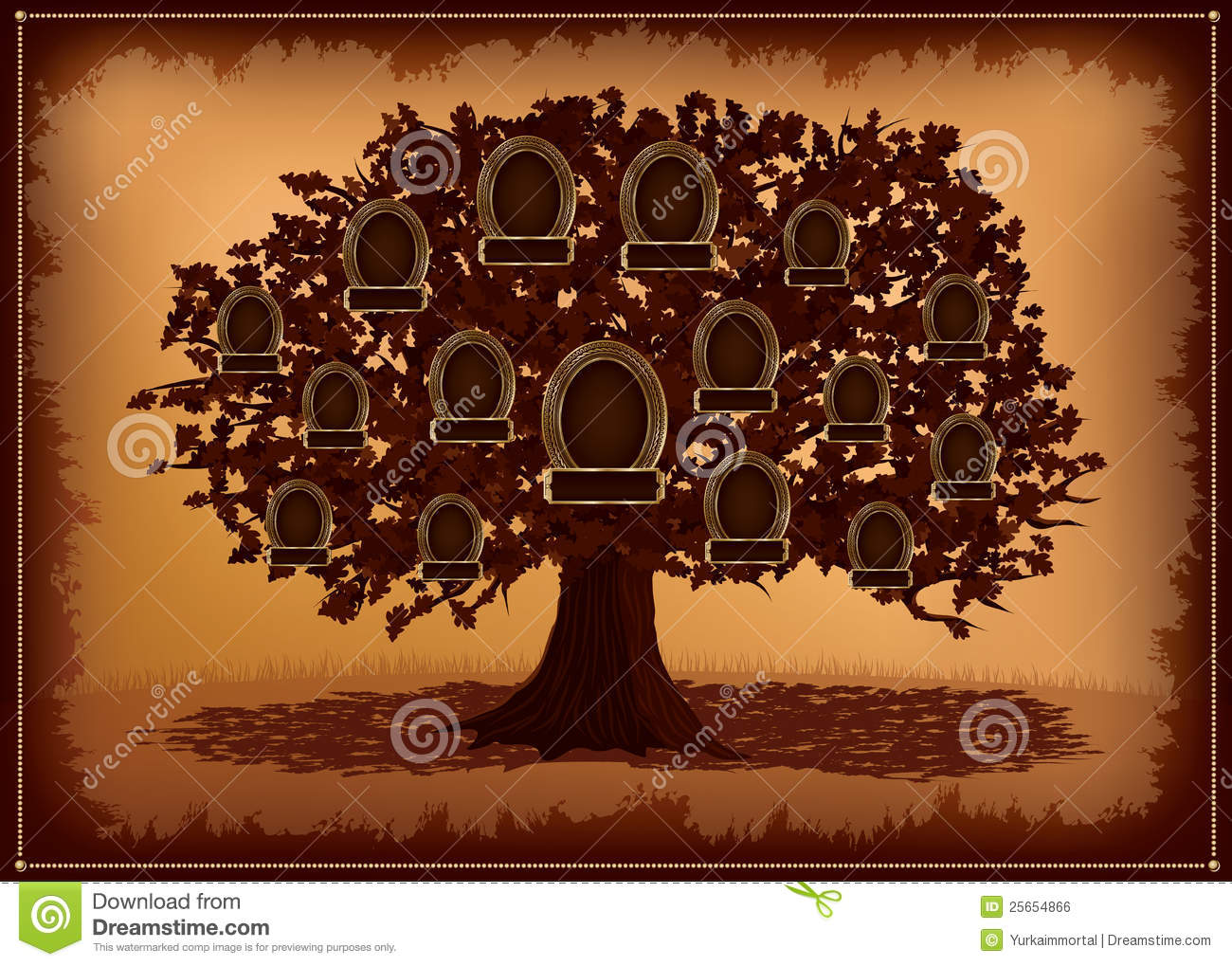 Vector Family Tree With Frames And Leafs Royalty Free