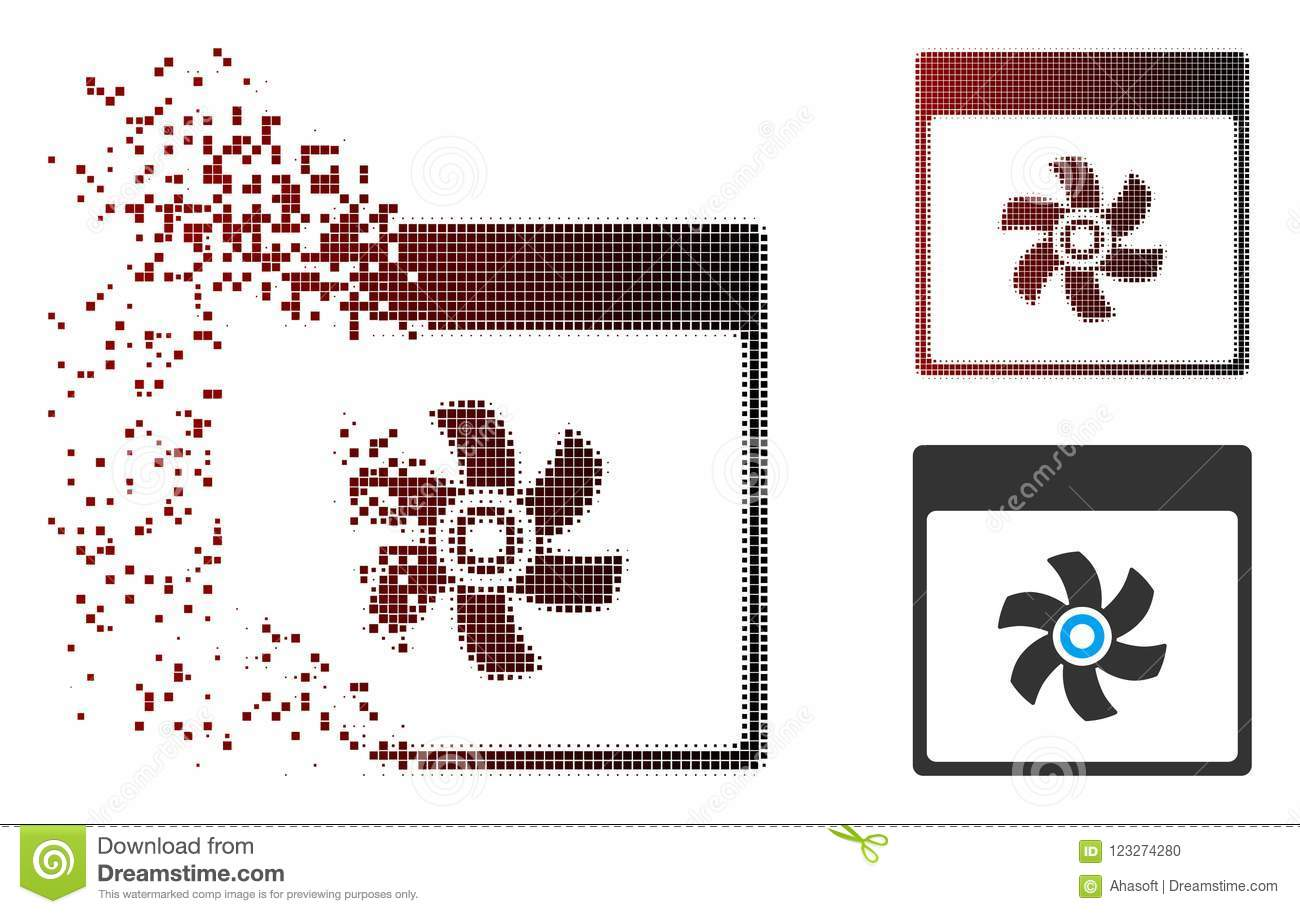 Shredded Pixel Halftone Fan Calendar Page Icon Stock Vector