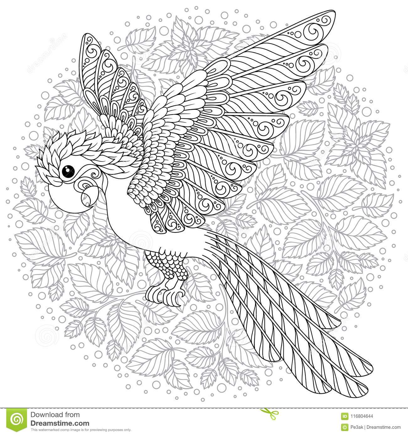 vector fantasy stylized cockatoo jungle parrot silhouette zentangle stylized cartoon parrot hand drawn sketch adult antistress