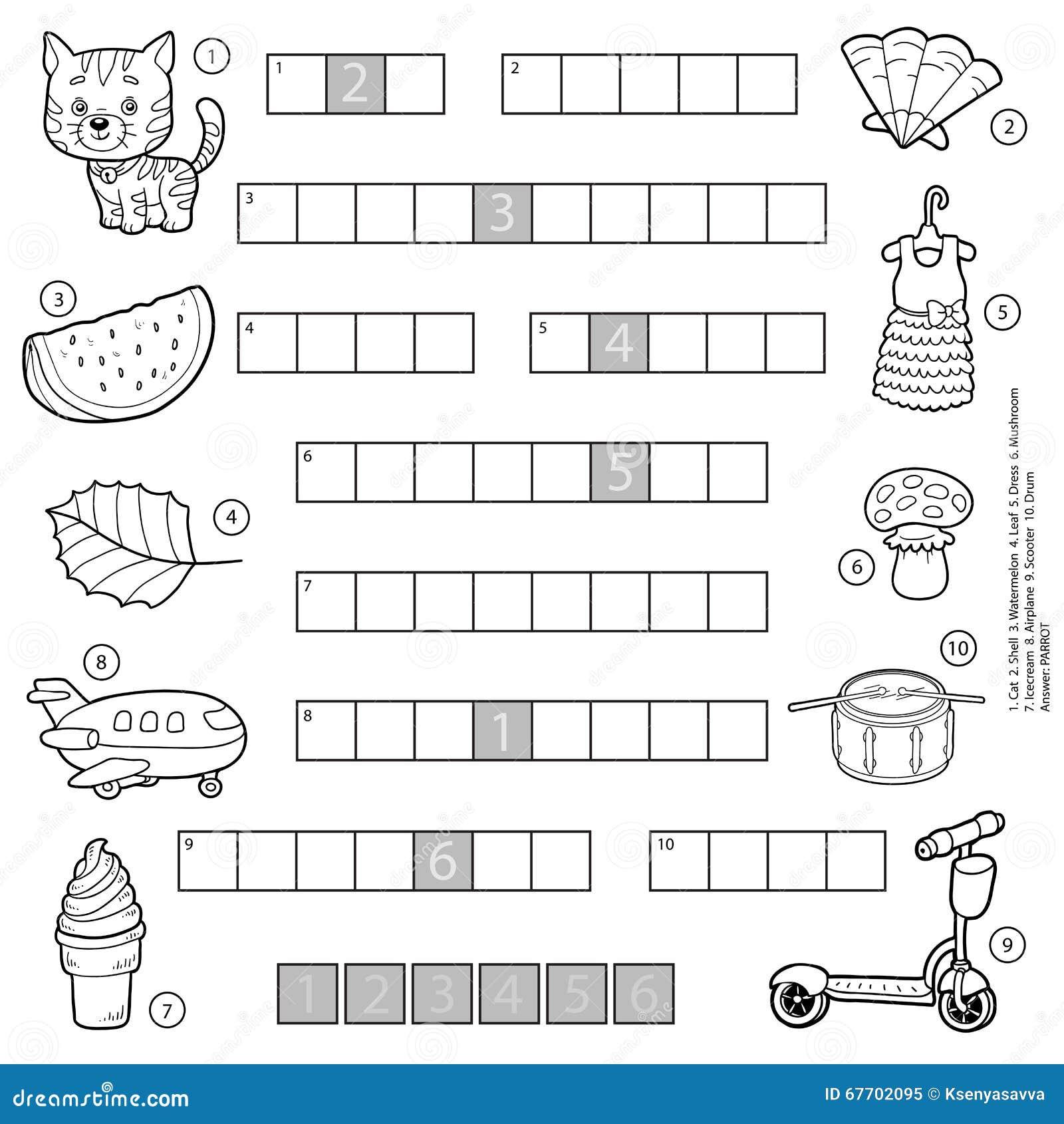 vector farbloses kreuzwortr tsel bildungsspiel f r kinder vektor abbildung illustration von. Black Bedroom Furniture Sets. Home Design Ideas