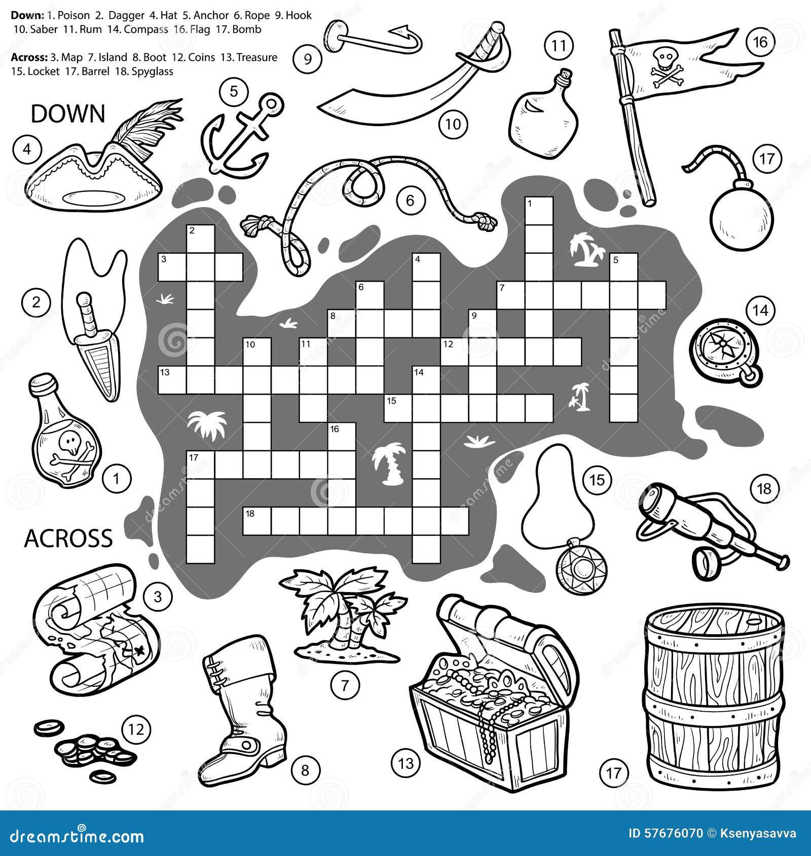 Vector Farbloses Kreuzwortru00e4tsel, Bildungsspiel u00fcber Piraten Vektor Abbildung - Bild: 57676070