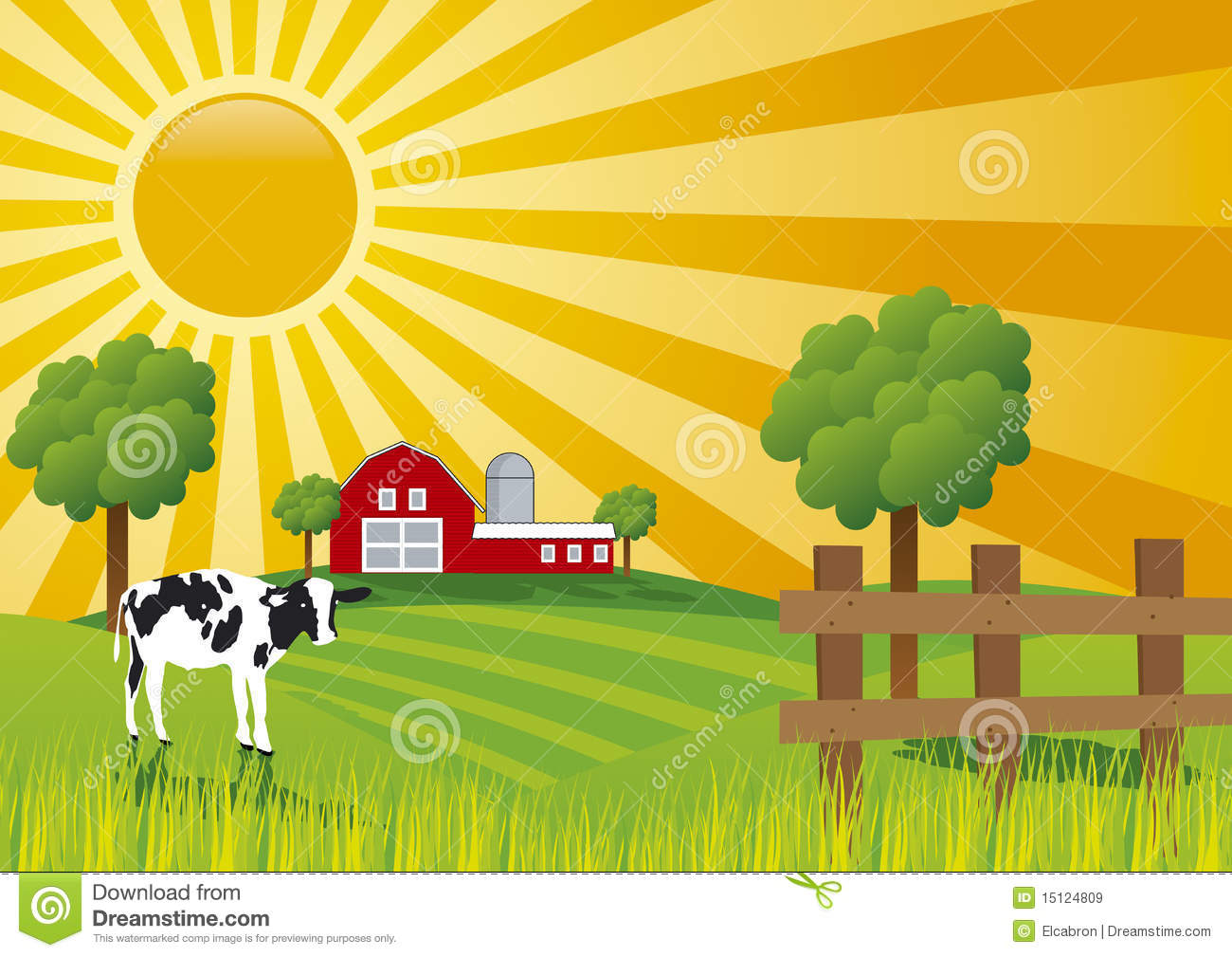Cow Grazing Clipart