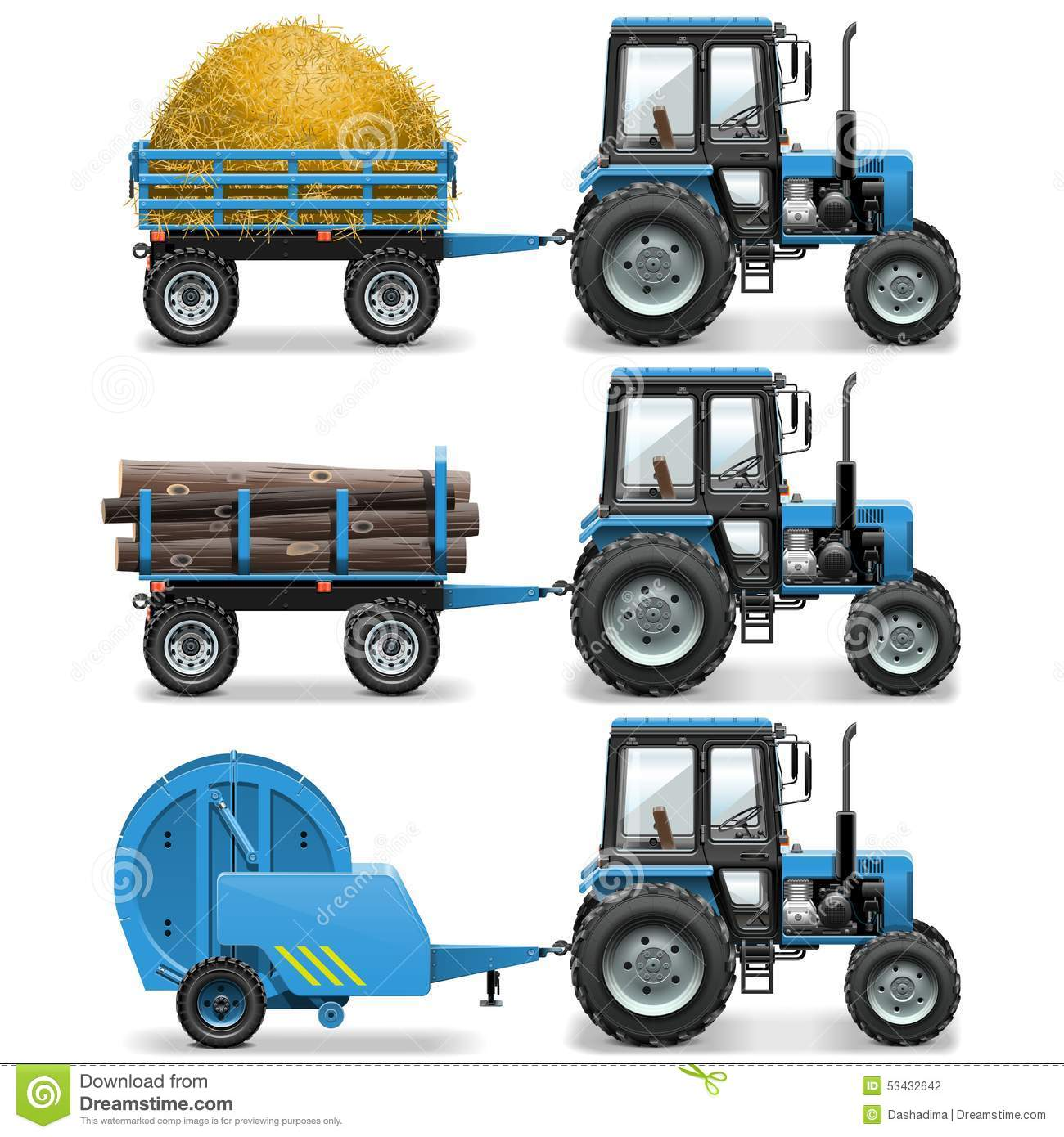 Hay Farmer Tractor Cartoon : Baler cartoons illustrations vector stock images