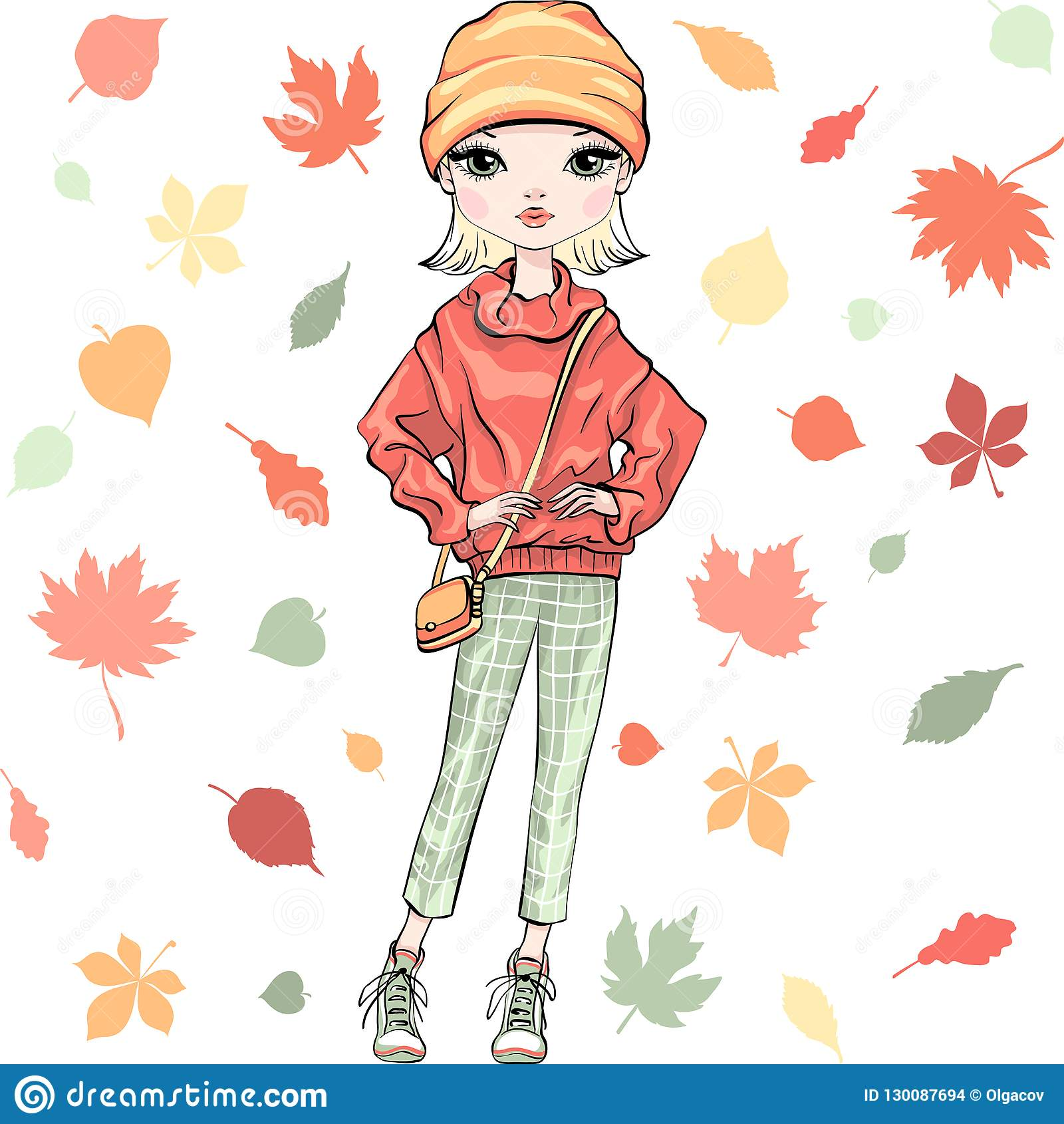 a77b7c7889 Vector beautiful fashion hipster girl top model in autumn clothes with bag