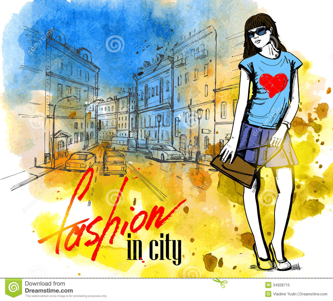 vector fashion girl stock vector  image of modern  paper