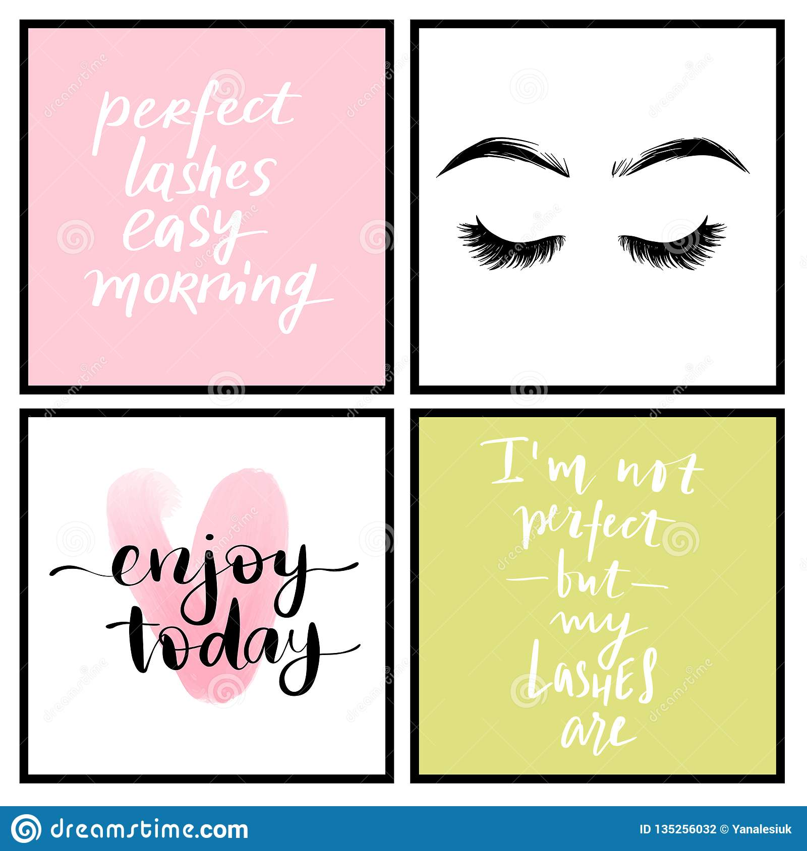 Vector Fashion Posters With Positive Quotes Home Decor Photo Frame With Inspirational Phrases Stock Vector Illustration Of Brush Lashes 135256032